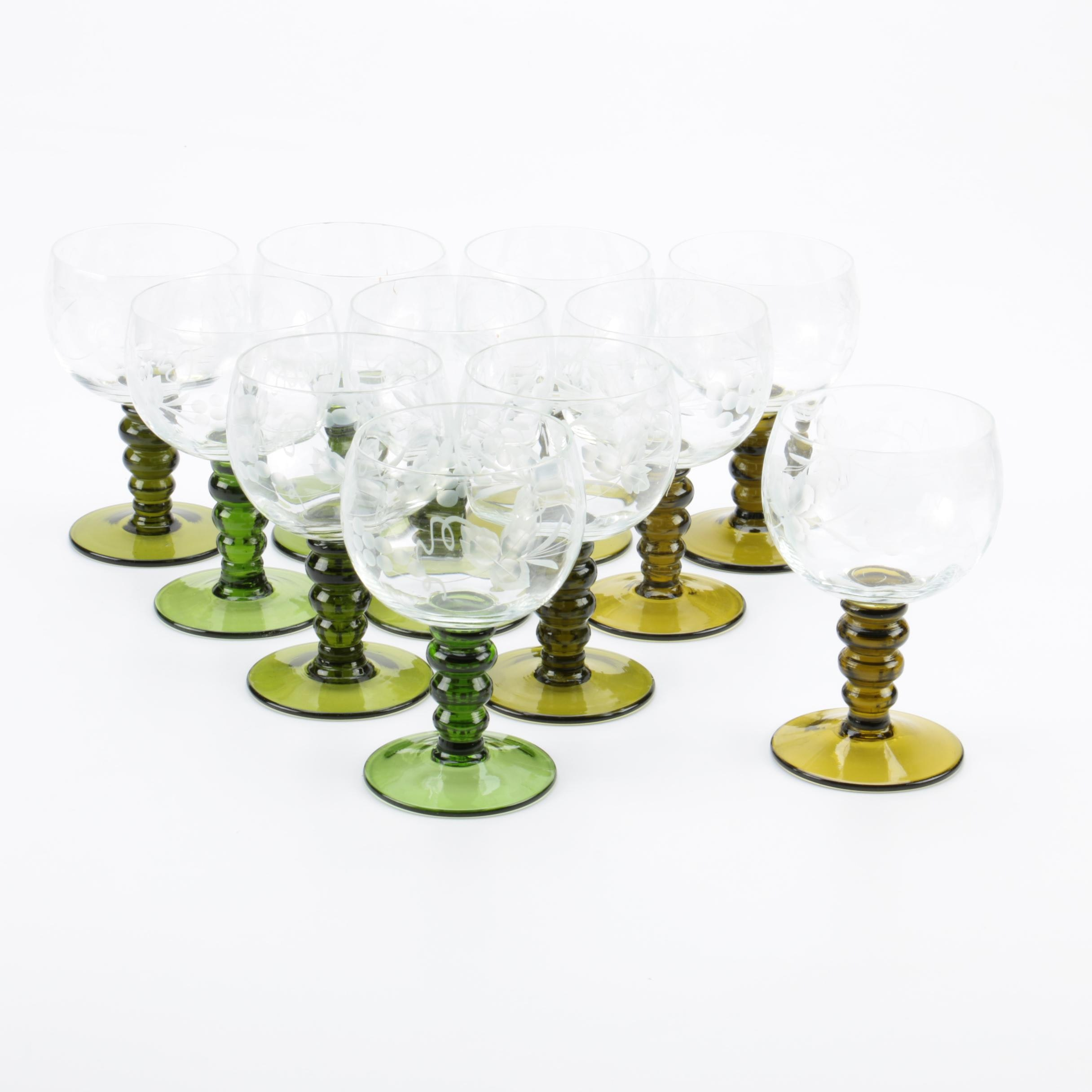 Collection of Romer Etched Cordial Glasses with Green Stems