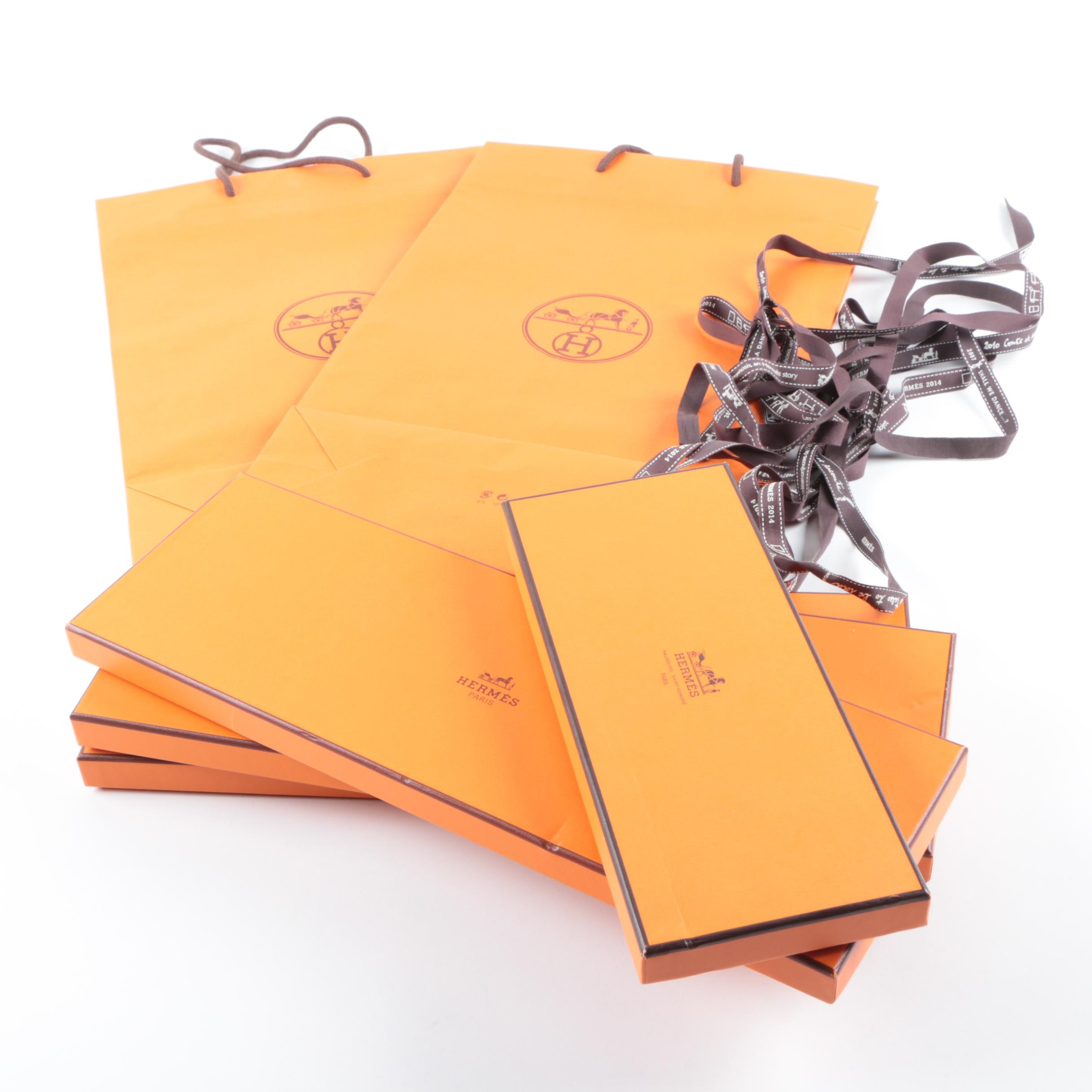 Hermès Boxes, Bolduc Ribbons and Bags