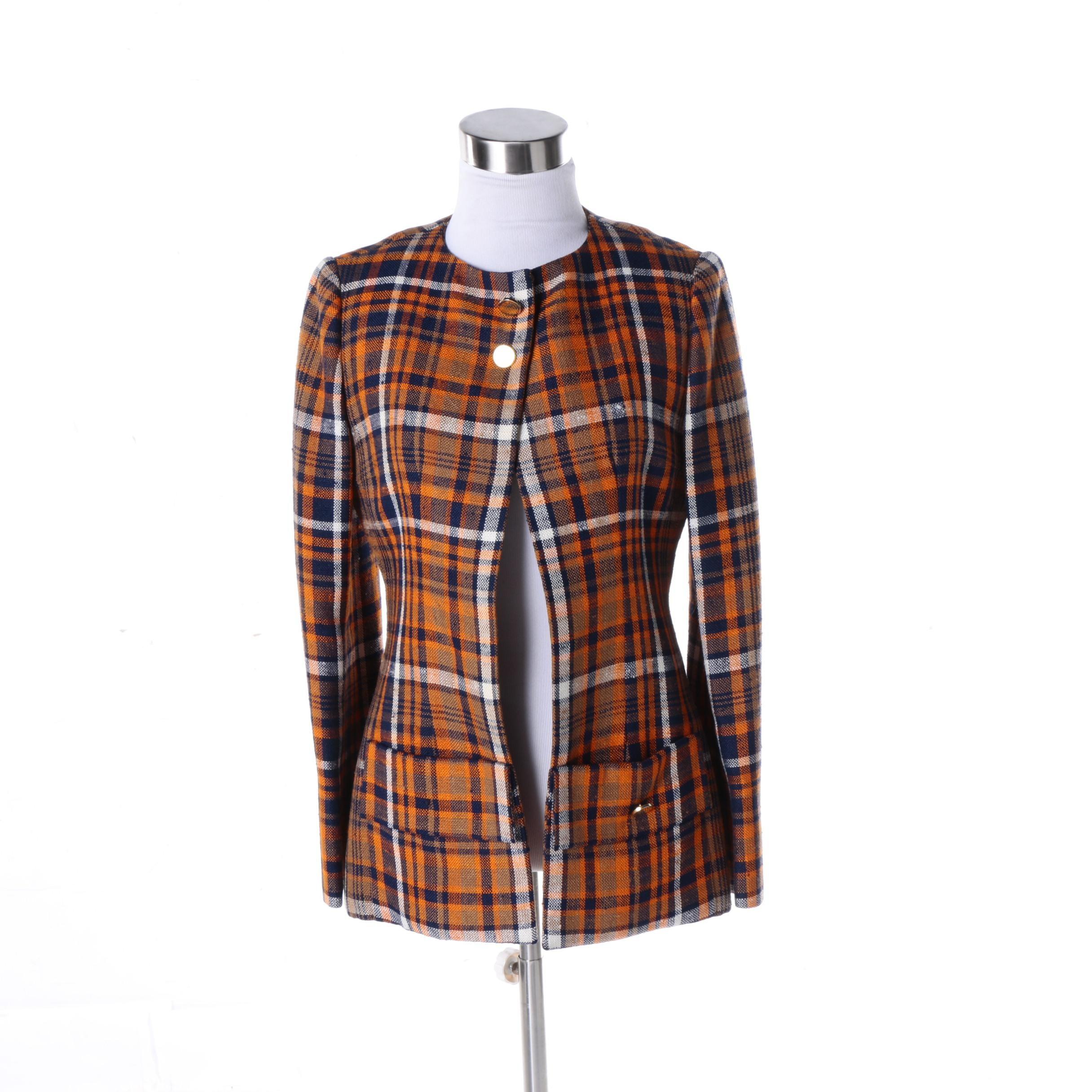 Women's Vintage Cardinali Plaid Wool Blend Jacket