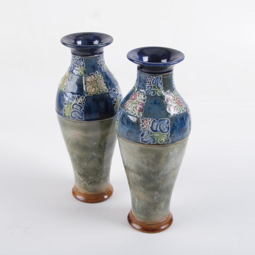 Royal Doulton Lambeth Stoneware Vases Ebth