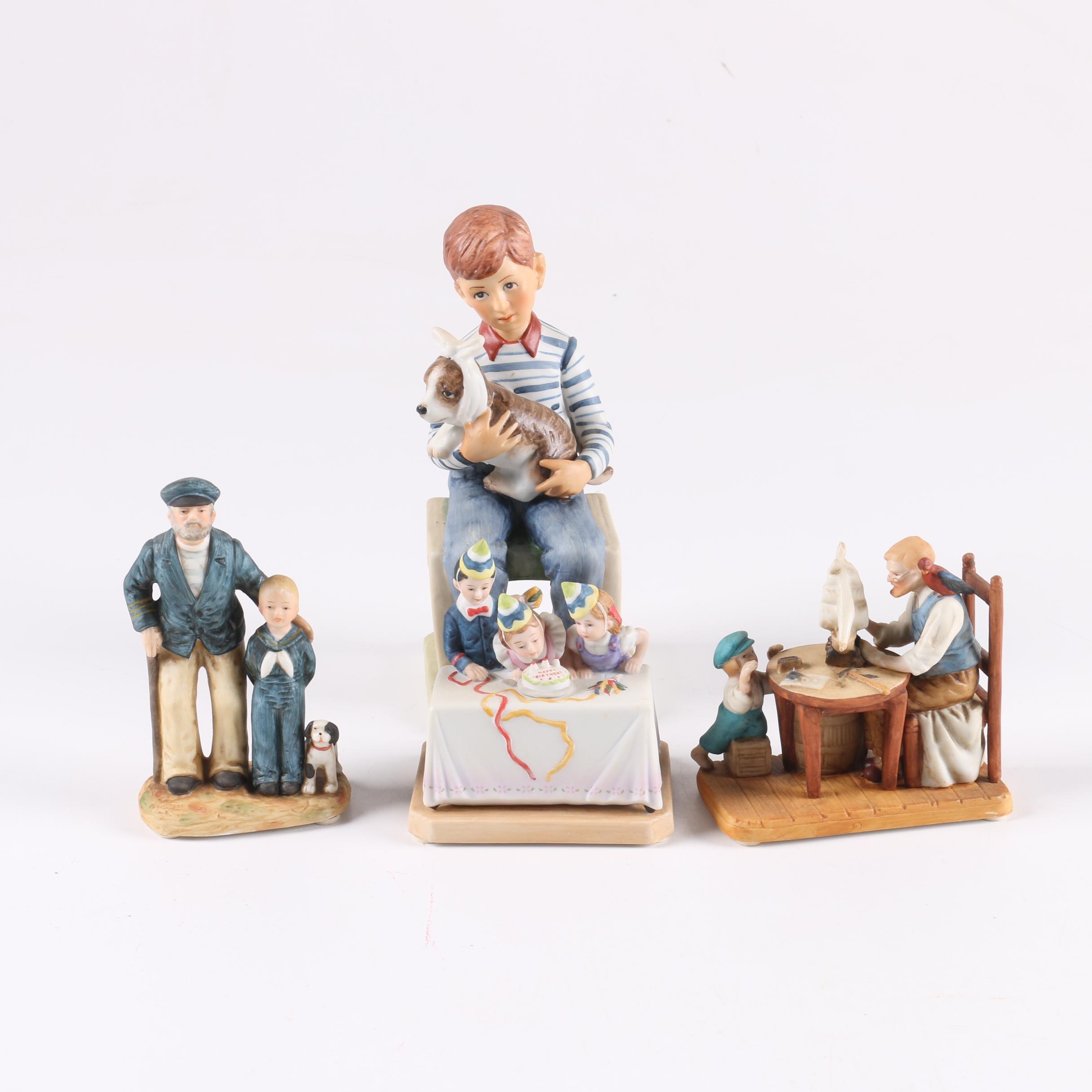 Vintage Norman Rockwell Figurines Including Gorham