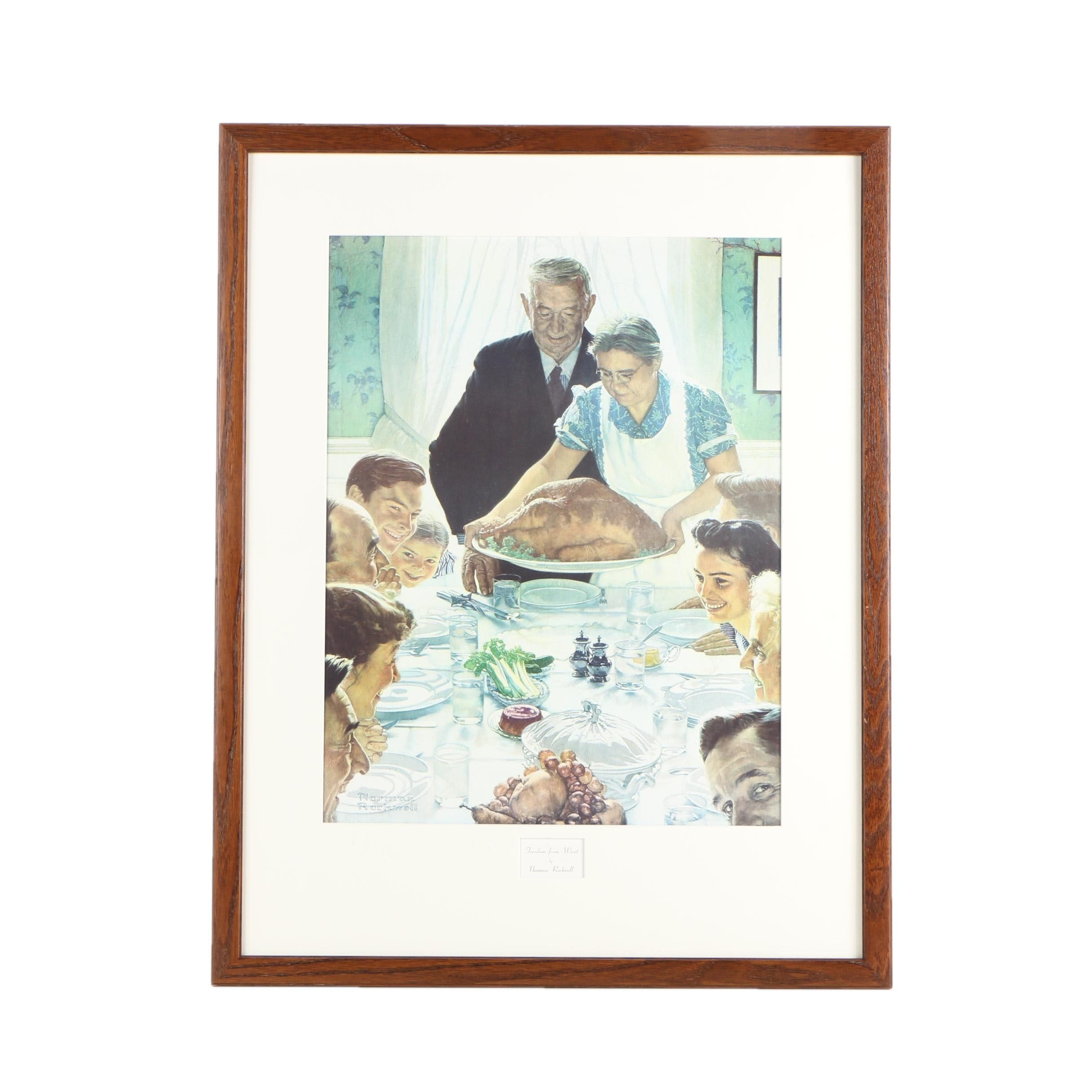 """Giclee After Norman Rockwell """"Freedom From Want"""""""