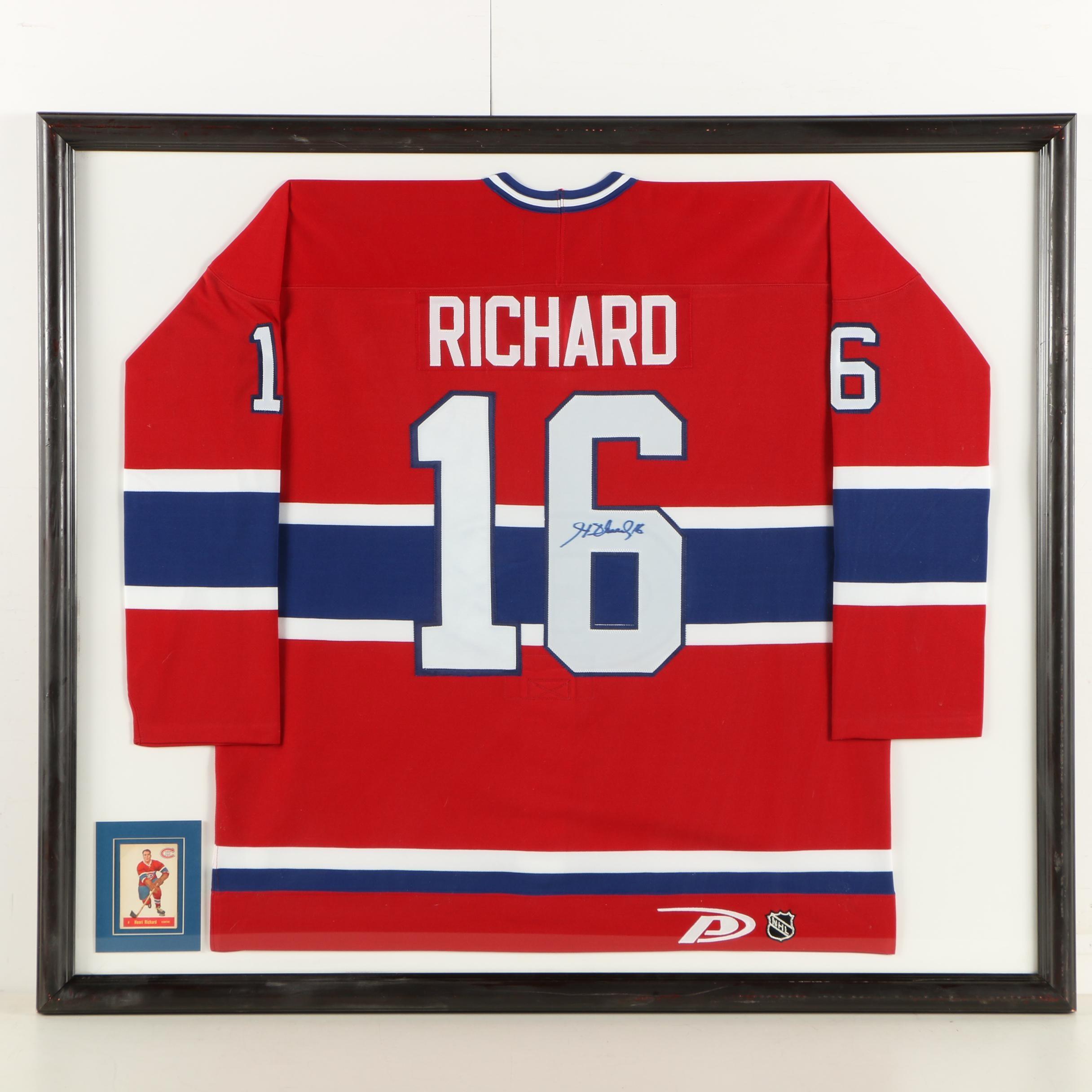 Henri Richard Framed Autographed Team Jersey