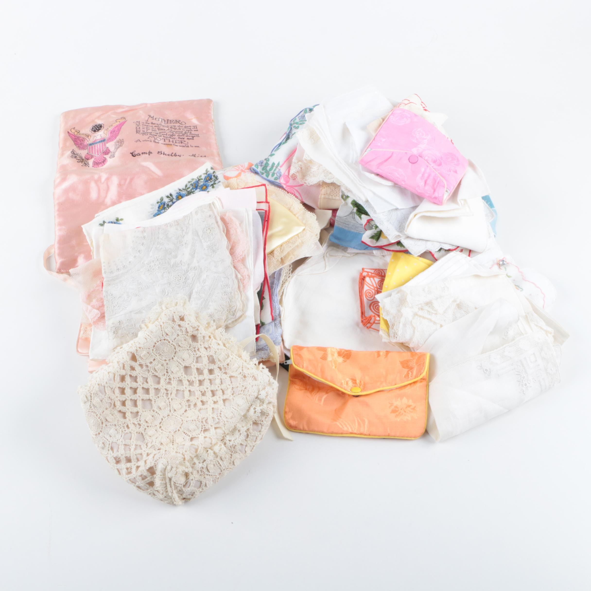 Assorted Linens and Handbags