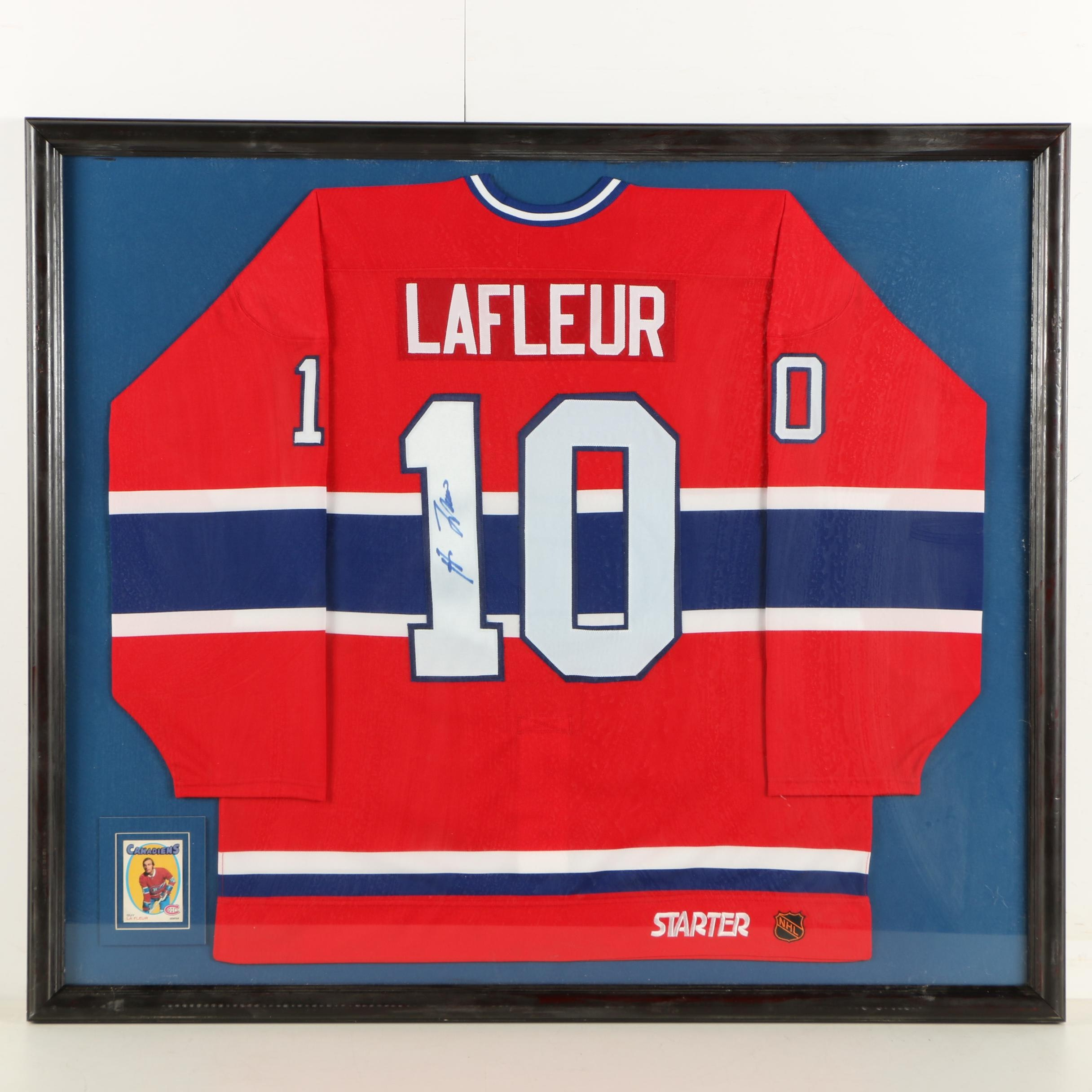 Guy LaFleur Montreal Canadiens Framed Autographed Team Jersey