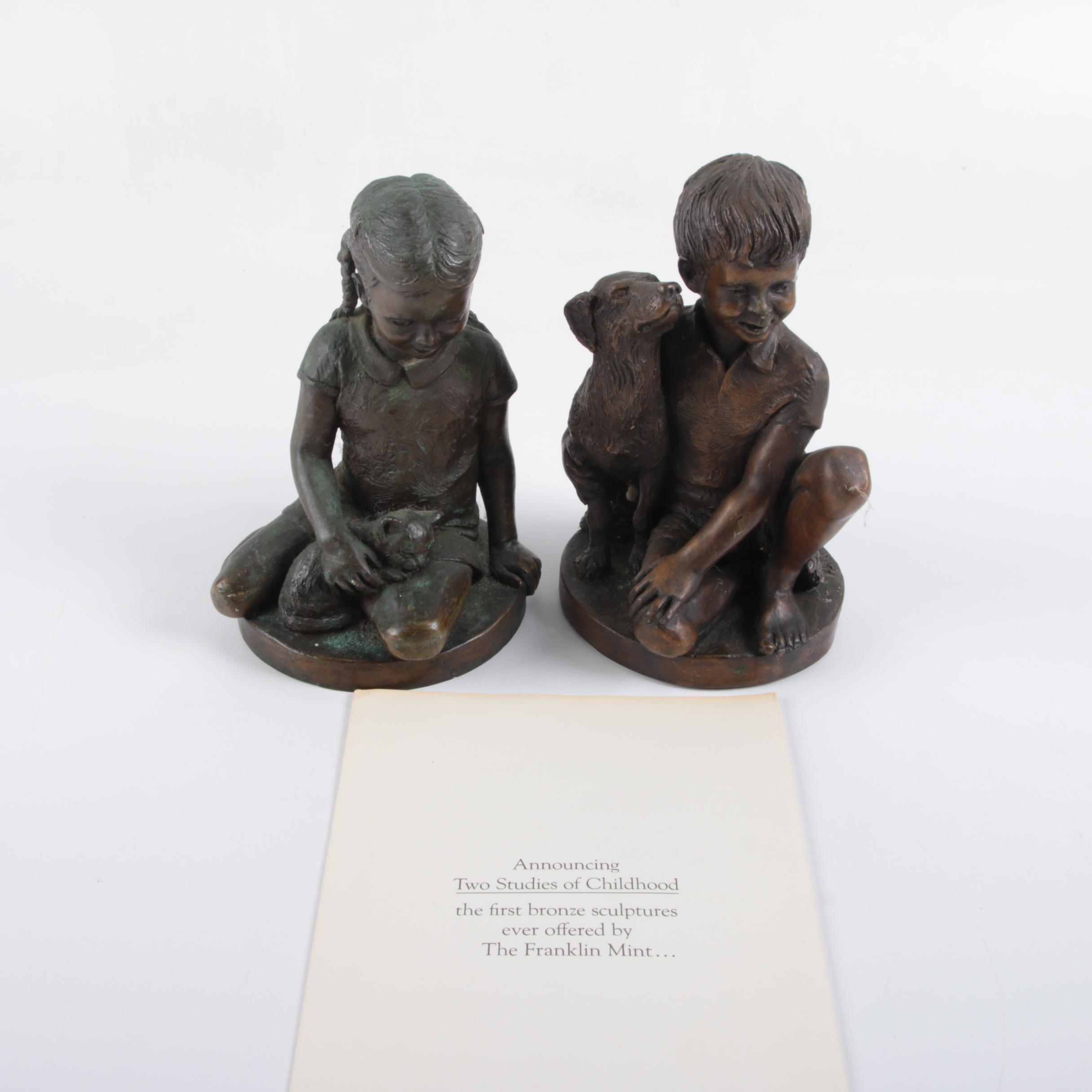 "Franklin Mint Bronze ""Two Studies of Childhood"" Sculptures"