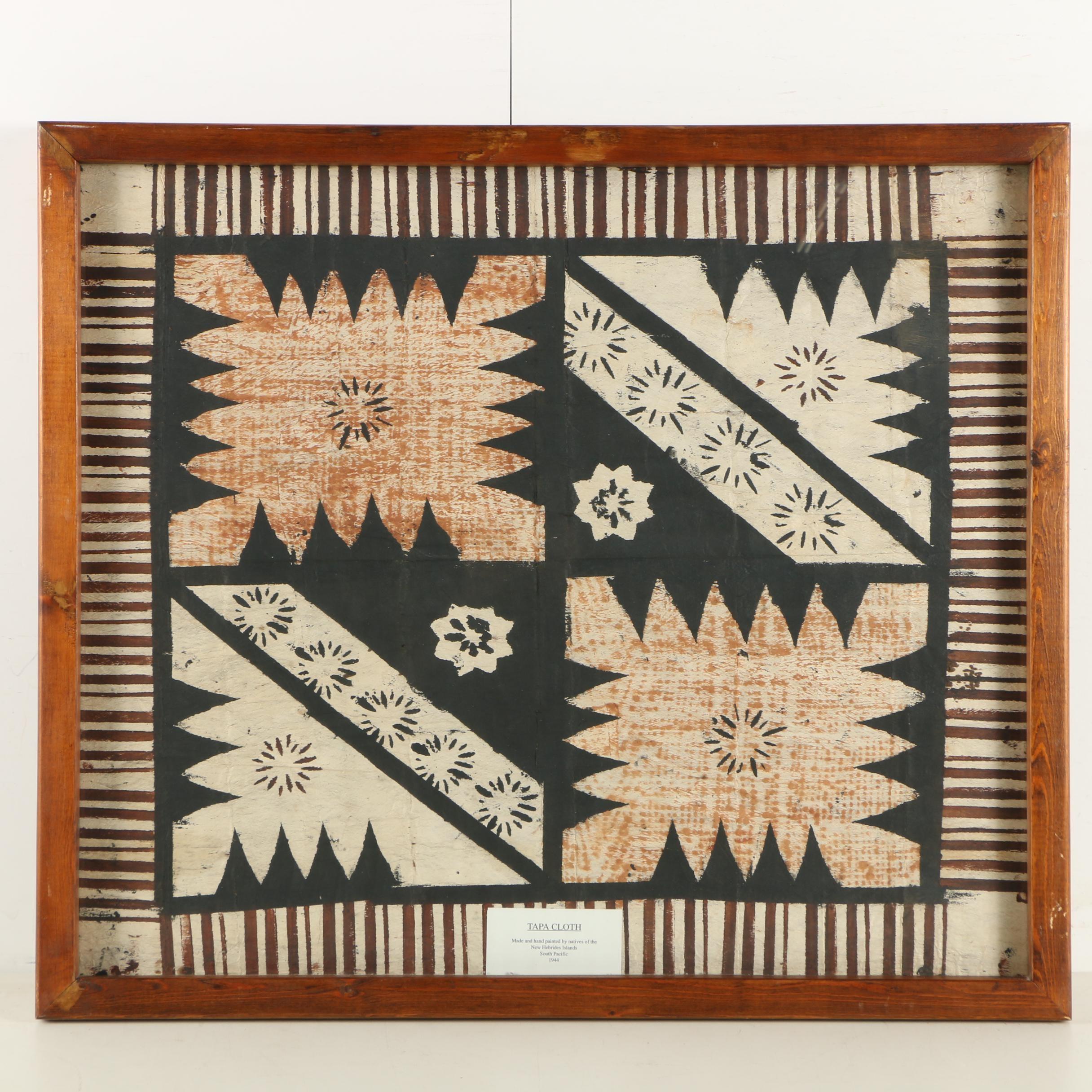 1944 Hand Painted Tapa Cloth