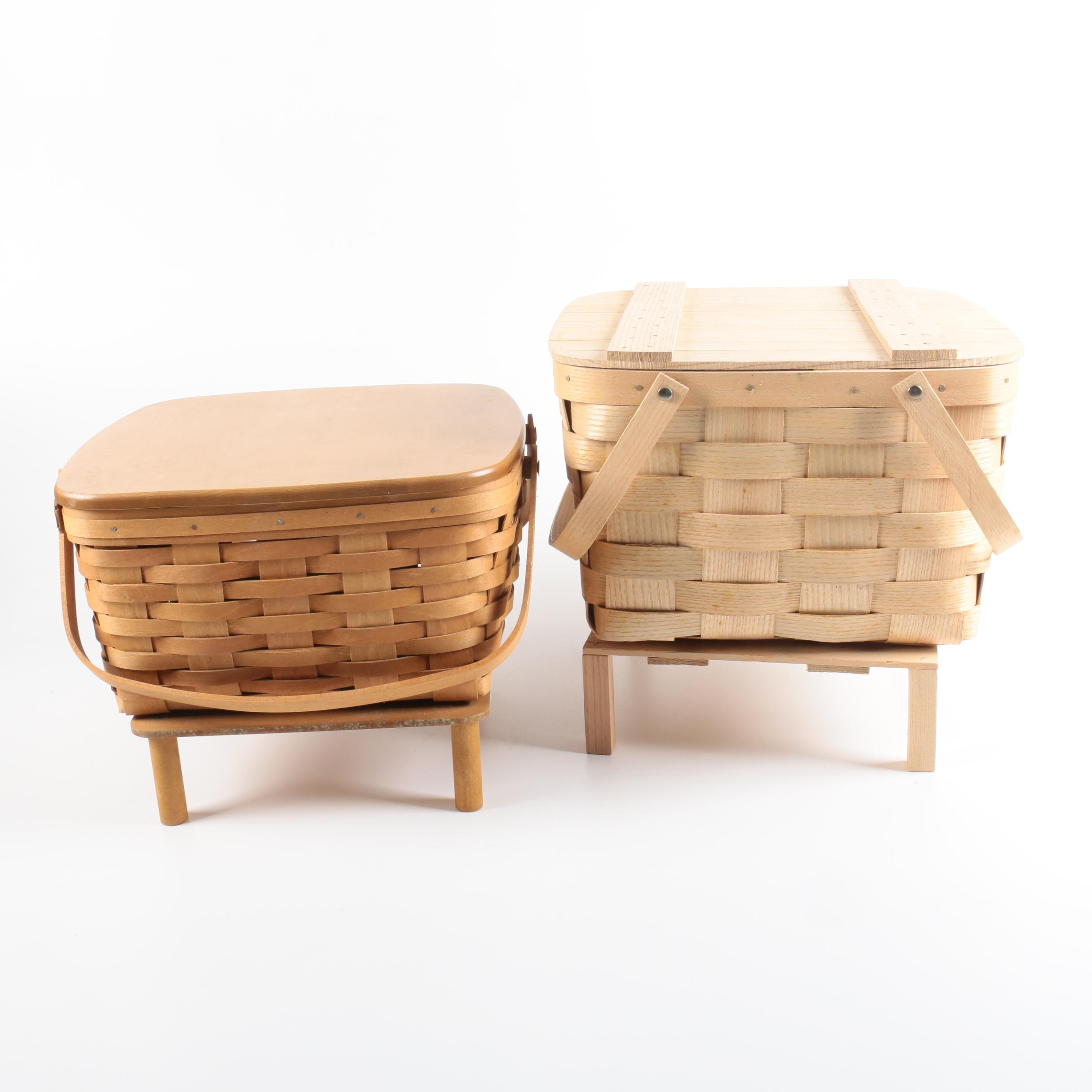 Pair of Double Handled Picnic Baskets with Platforms Featuring Longaberger