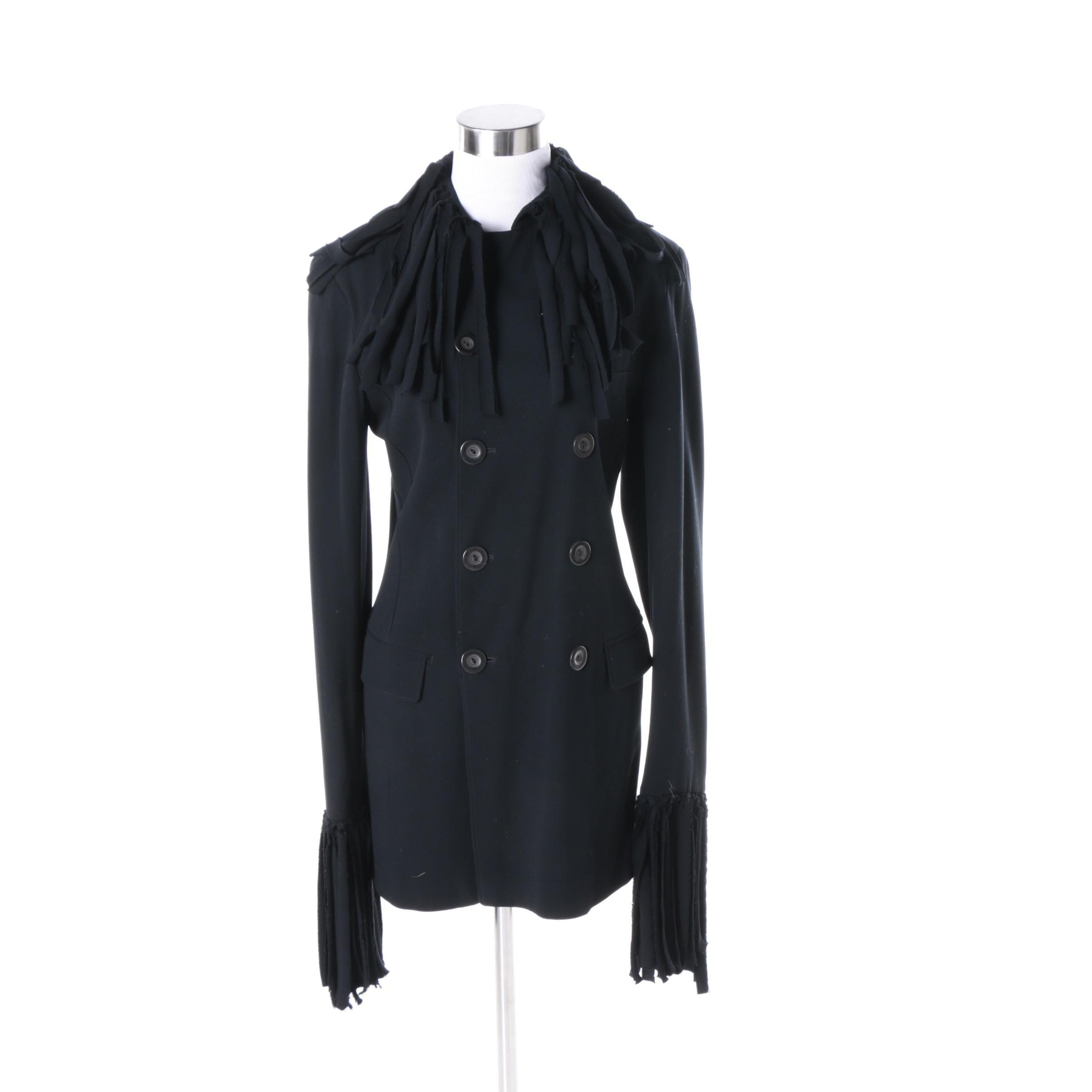 Women's Jean Paul Gaultier Double-Breasted Black Fringe Jacket
