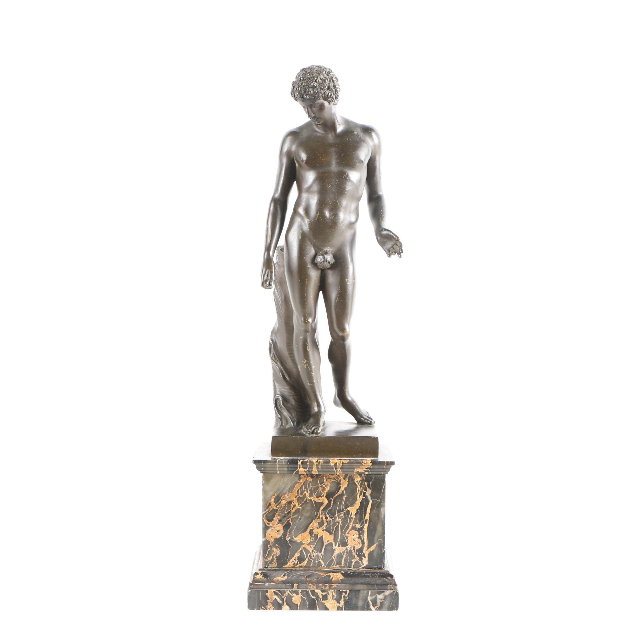 Copper Sculpture of Grecian Style Figure