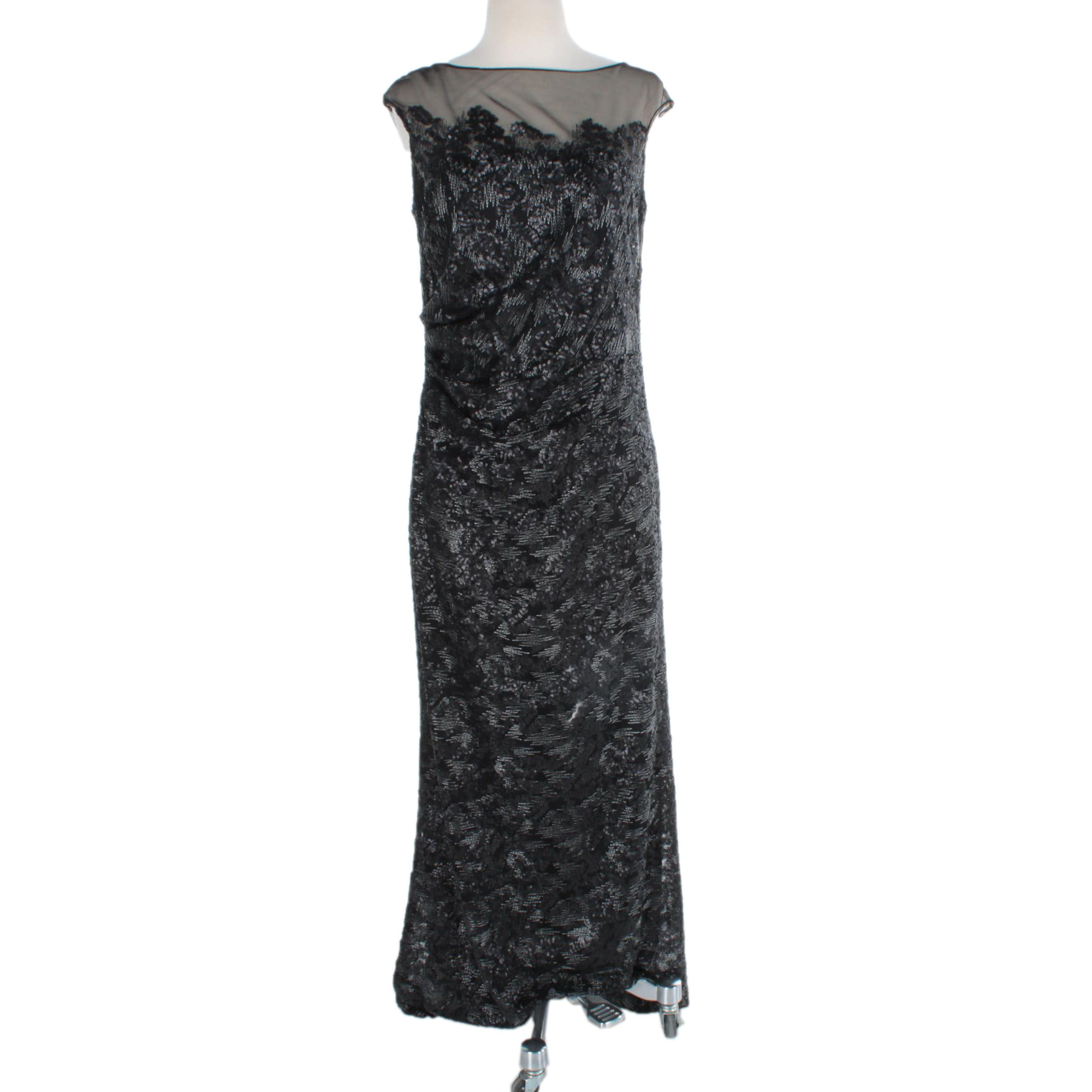David Meister Black Sequined Gown
