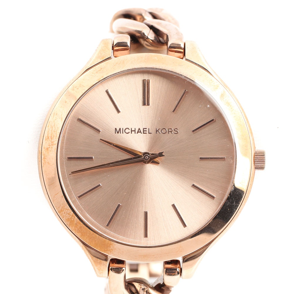 """Stainless Steel Michael Kors """"Runway"""" Wristwatch with Rose Gold Wash"""