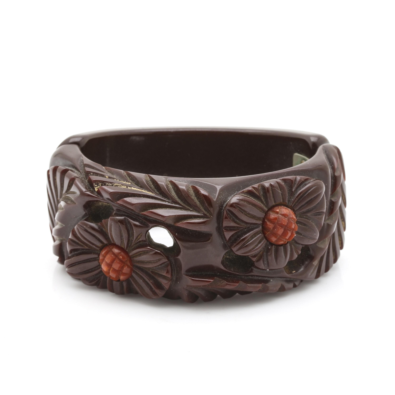 Bakelite Deep Carved Floral Motif Hinged Bangle