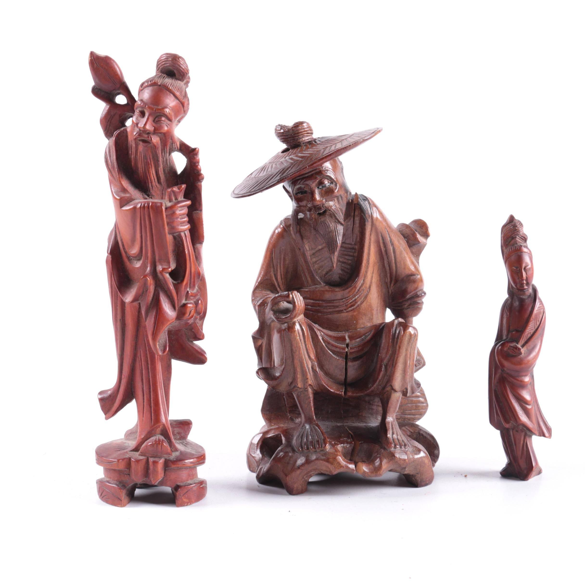 Chinese Hand-Carved Wooden Figurines