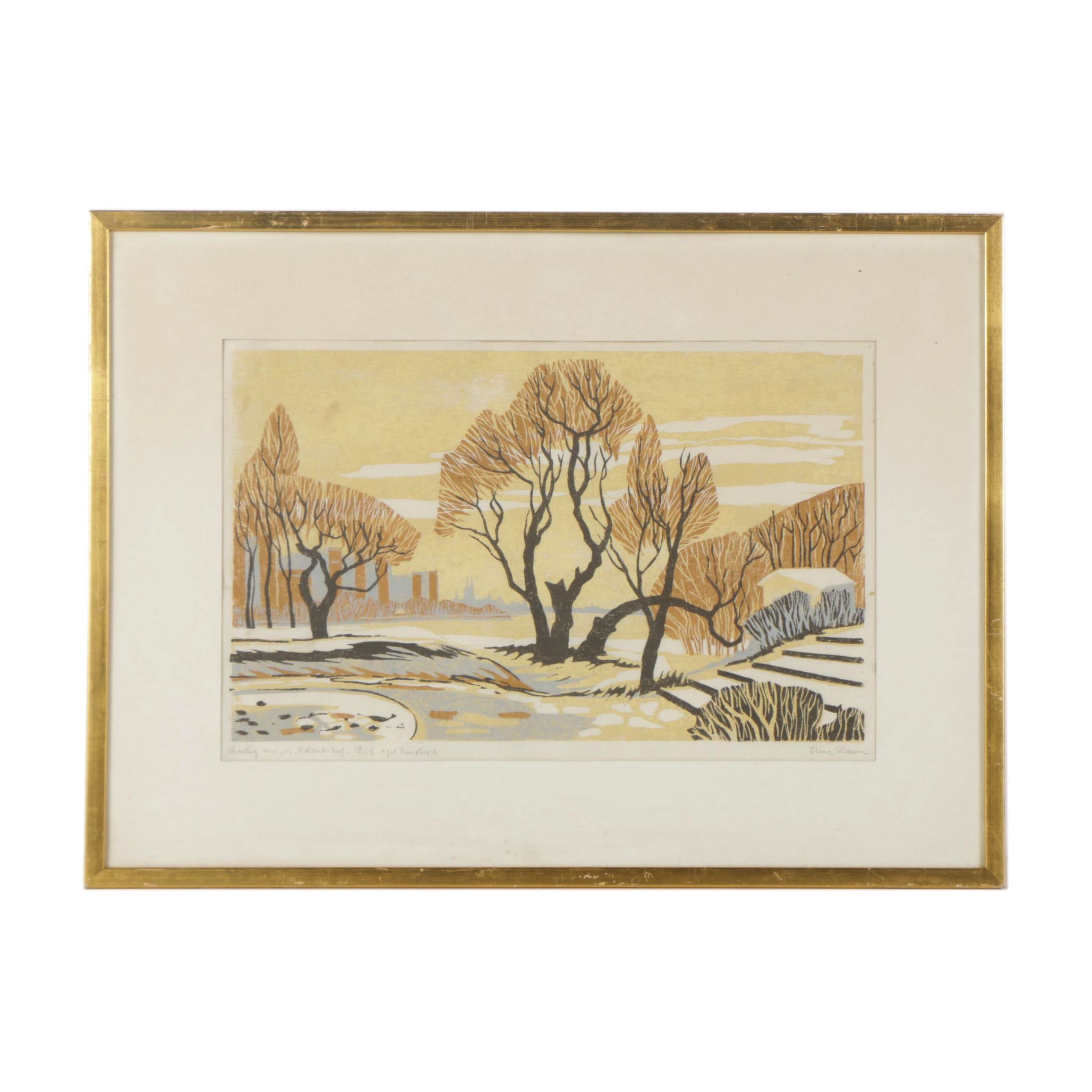 Limited Edition Linocut of Wooded Scene