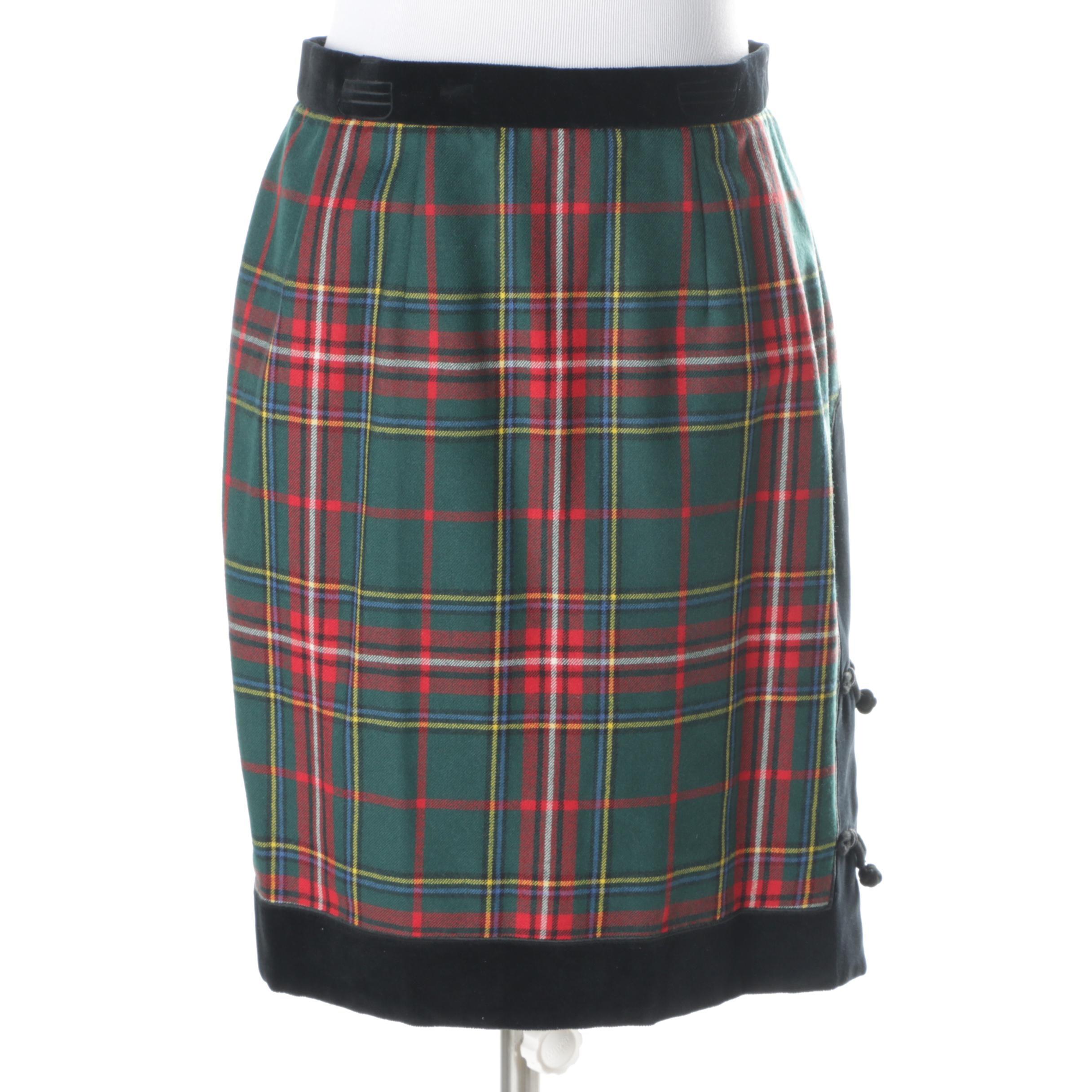 Vintage Oliver Plaid Wool and Velvet Skirt