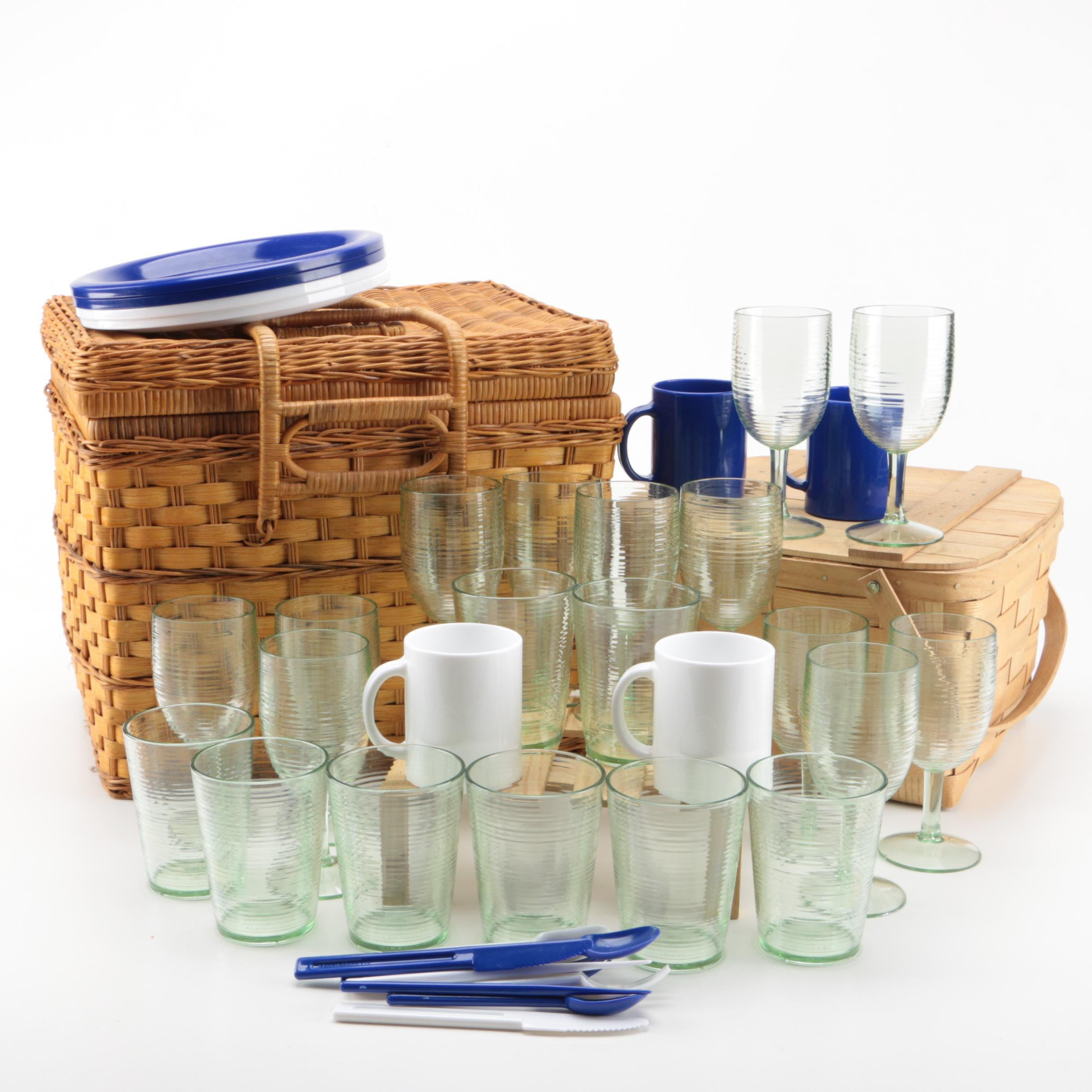 Pair of Picnic Baskets with Cups, Plates, and Utensils