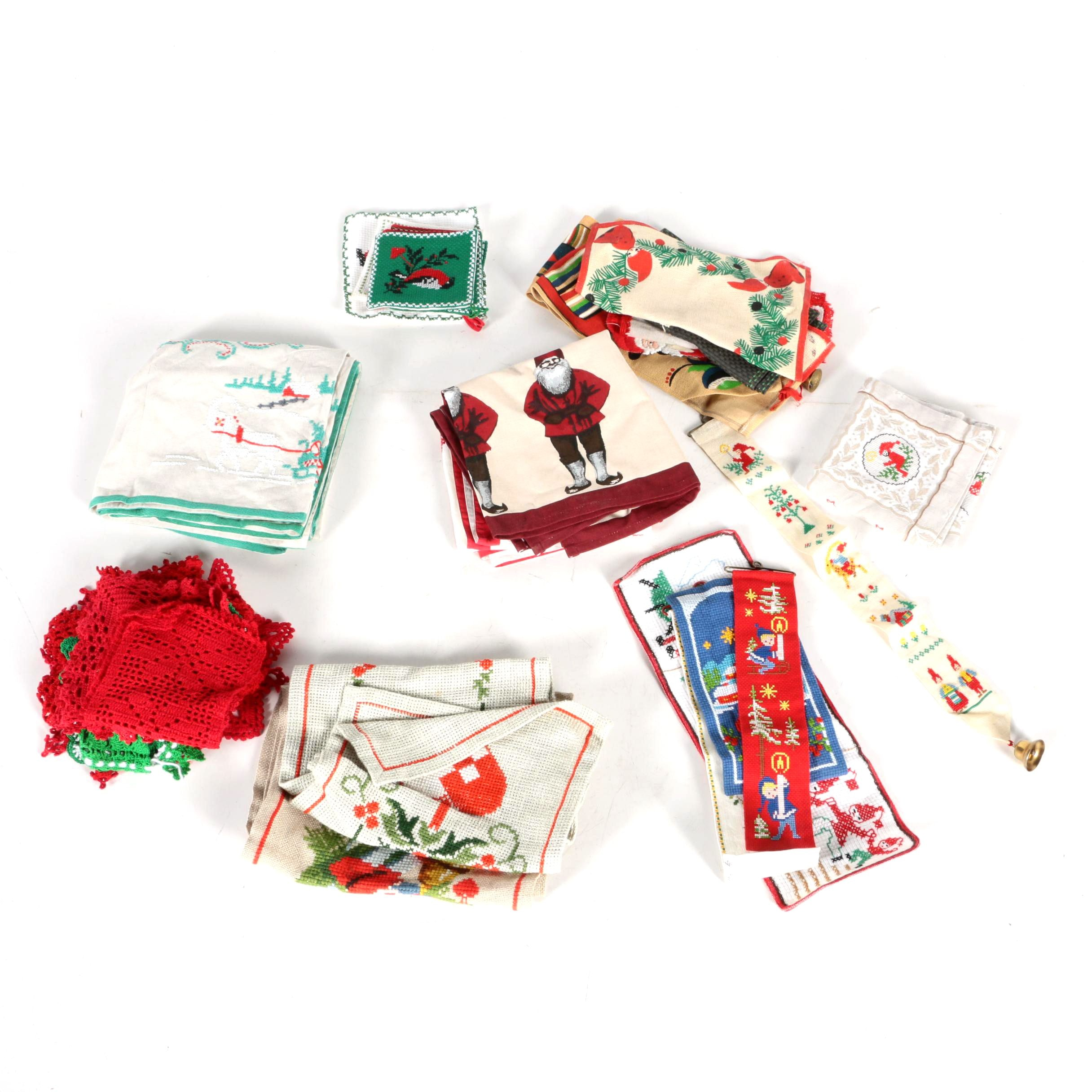 Vintage Christmas Themed Table Linens Including Crochet