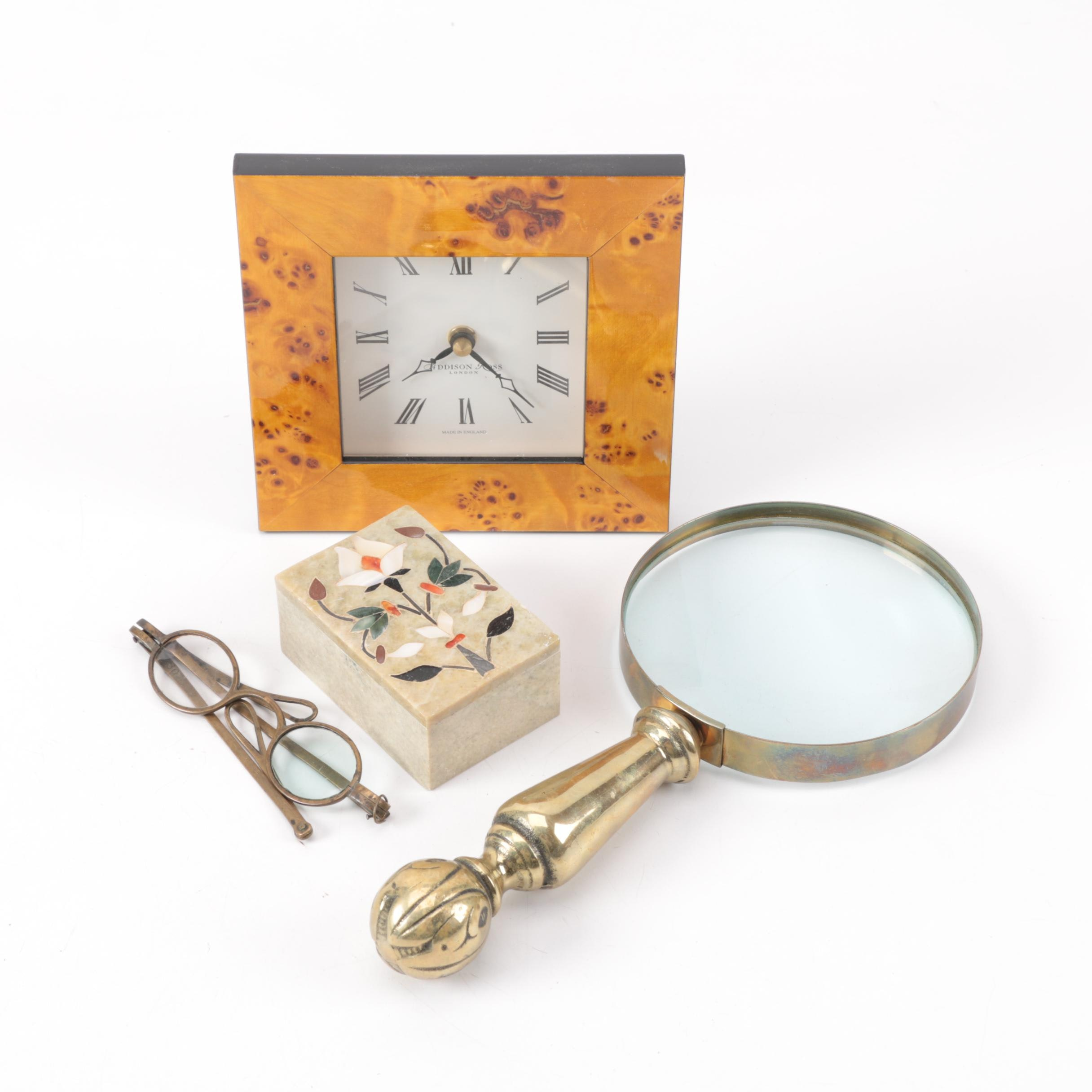 Grouping of Desk Accessories Including Soapstone Box