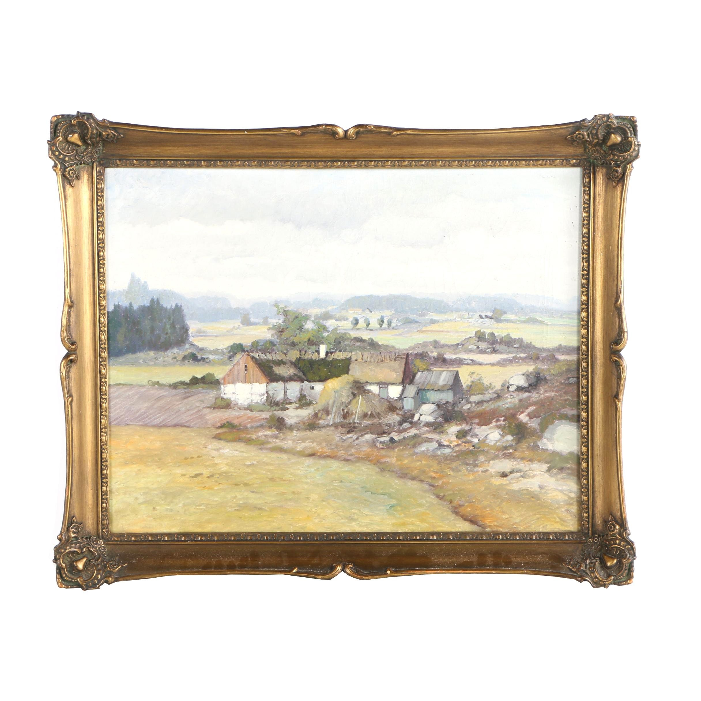 Oil Painting of Rustic Farm