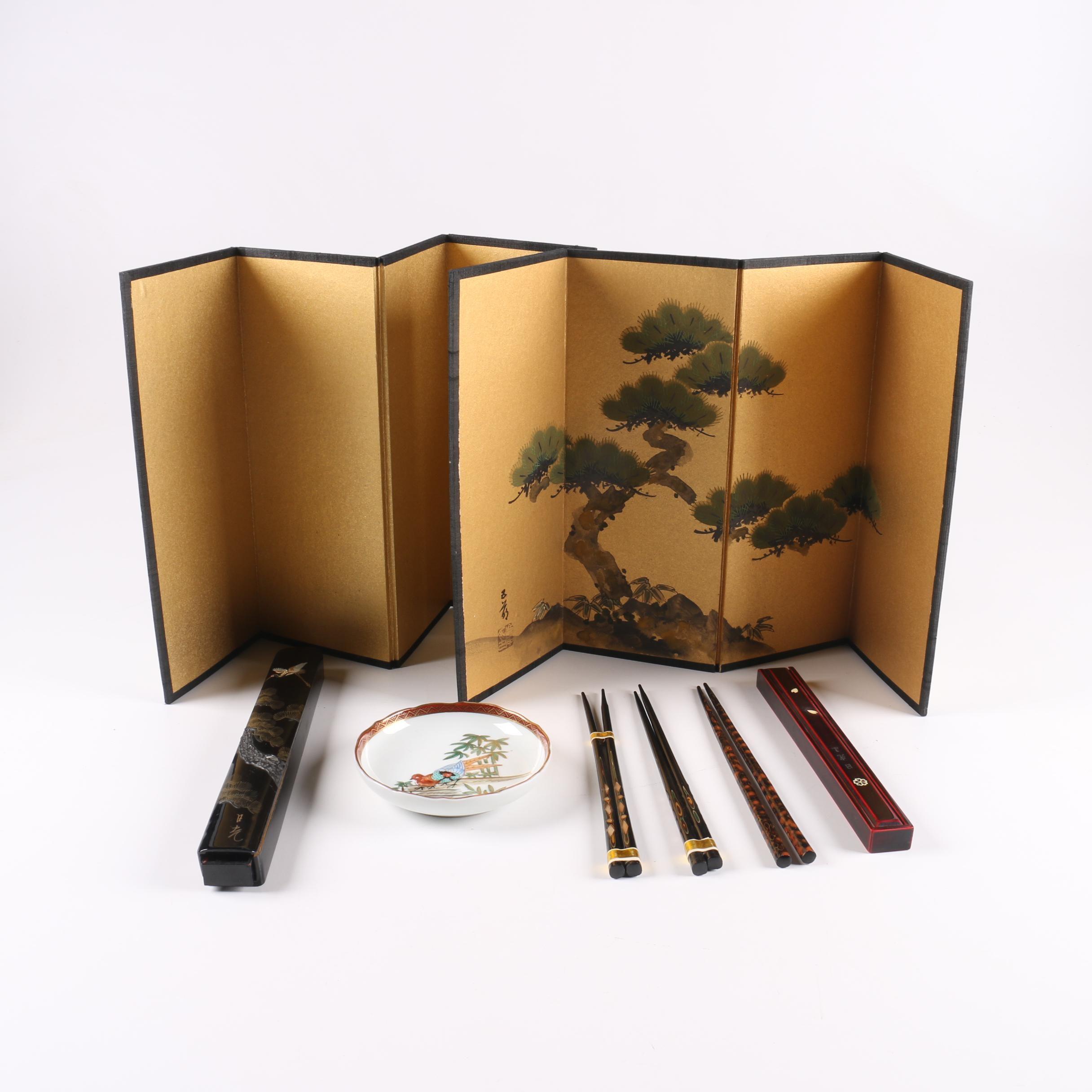 Japanese Table Screens, Chopsticks, and Trinket Dish