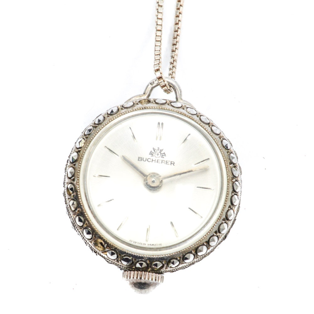 Bucherer Marcasite Accented Watch Pendant on Sterling Silver Chain