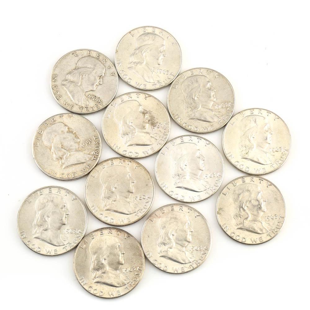 Twelve Franklin Silver Half Dollars