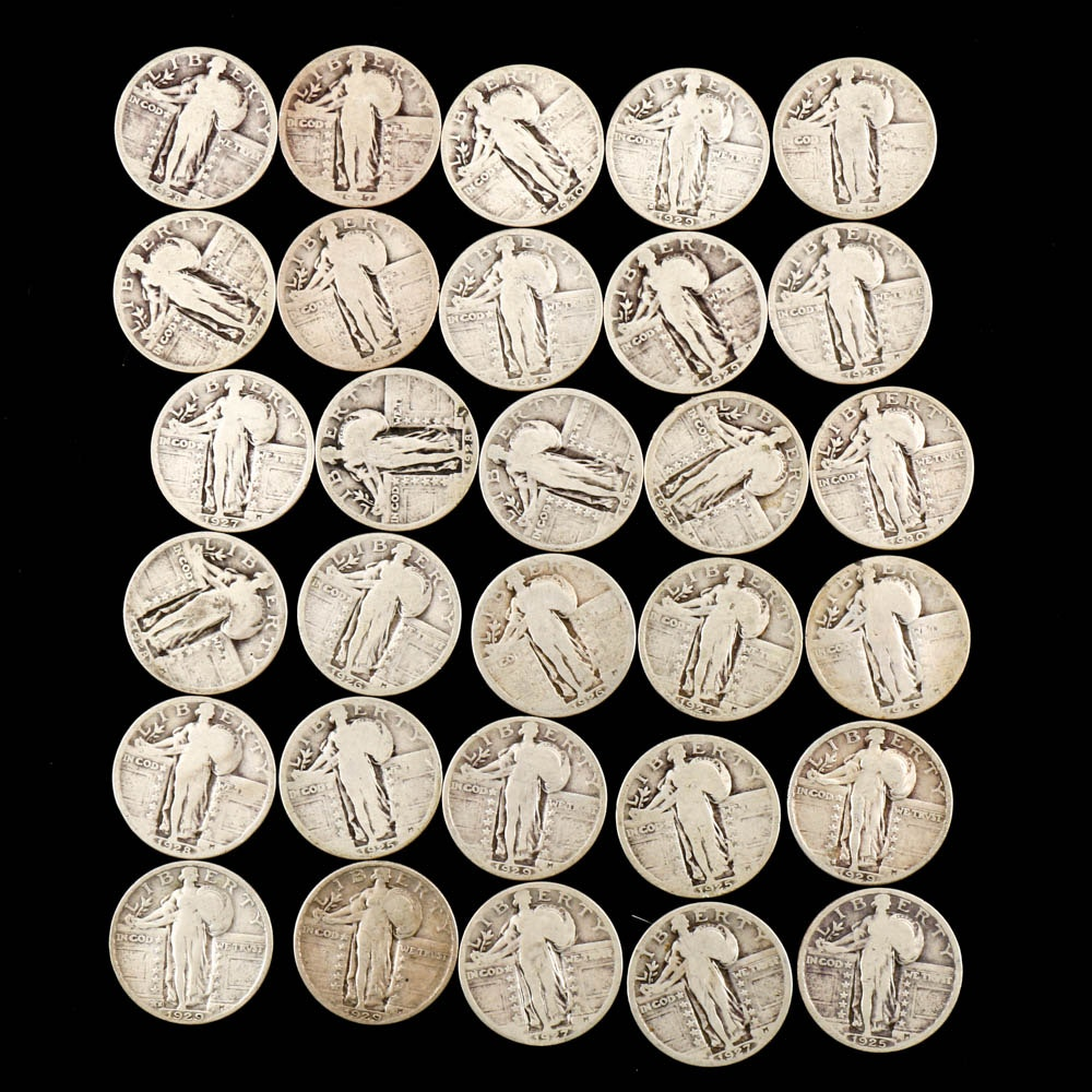 Thirty Standing Liberty Silver Quarters