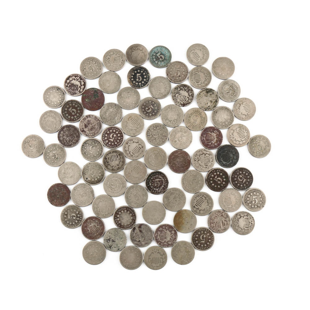 Seventy-Five Antique Shield Nickels