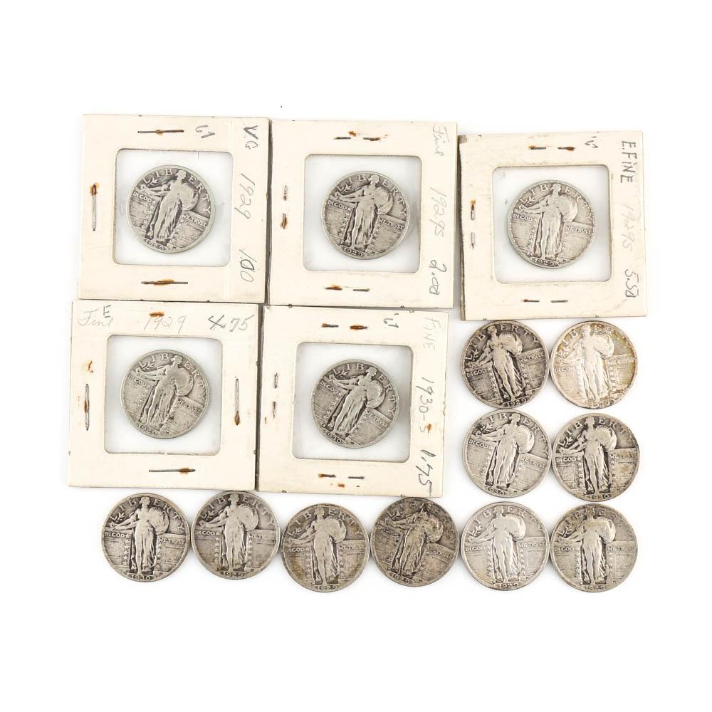Fifteen Standing Liberty Silver Quarters