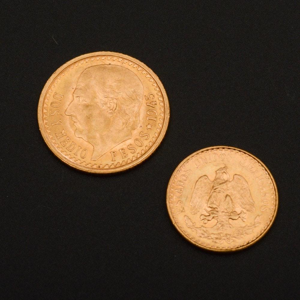 1945 (Restrike) Mexico 2 Pesos and 1945 (Restrike) Mexico 2.5 Peso Gold Coins