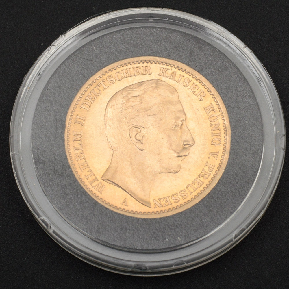 1907 Prussian Twenty Mark Gold Coin