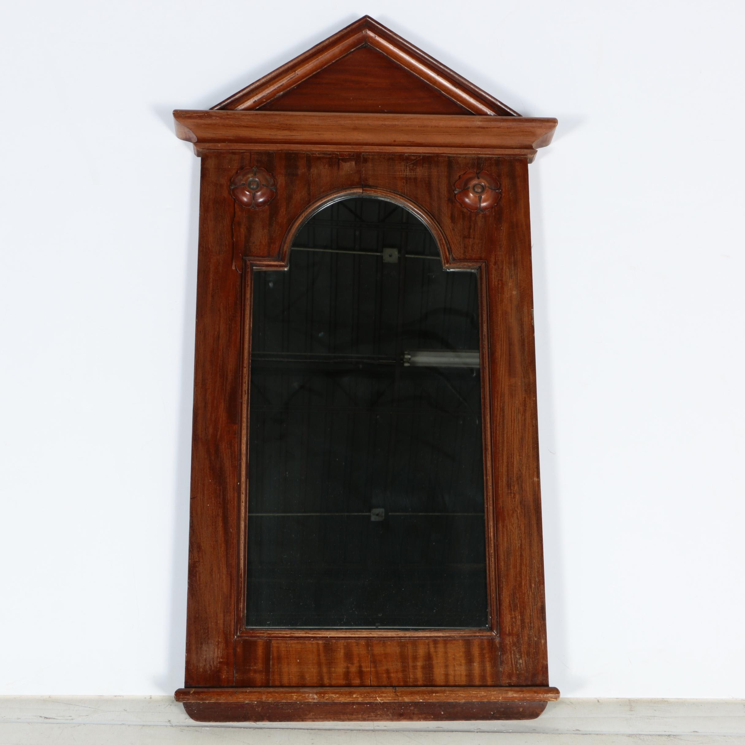 Wood Framed Wall Mirror with Arched Top