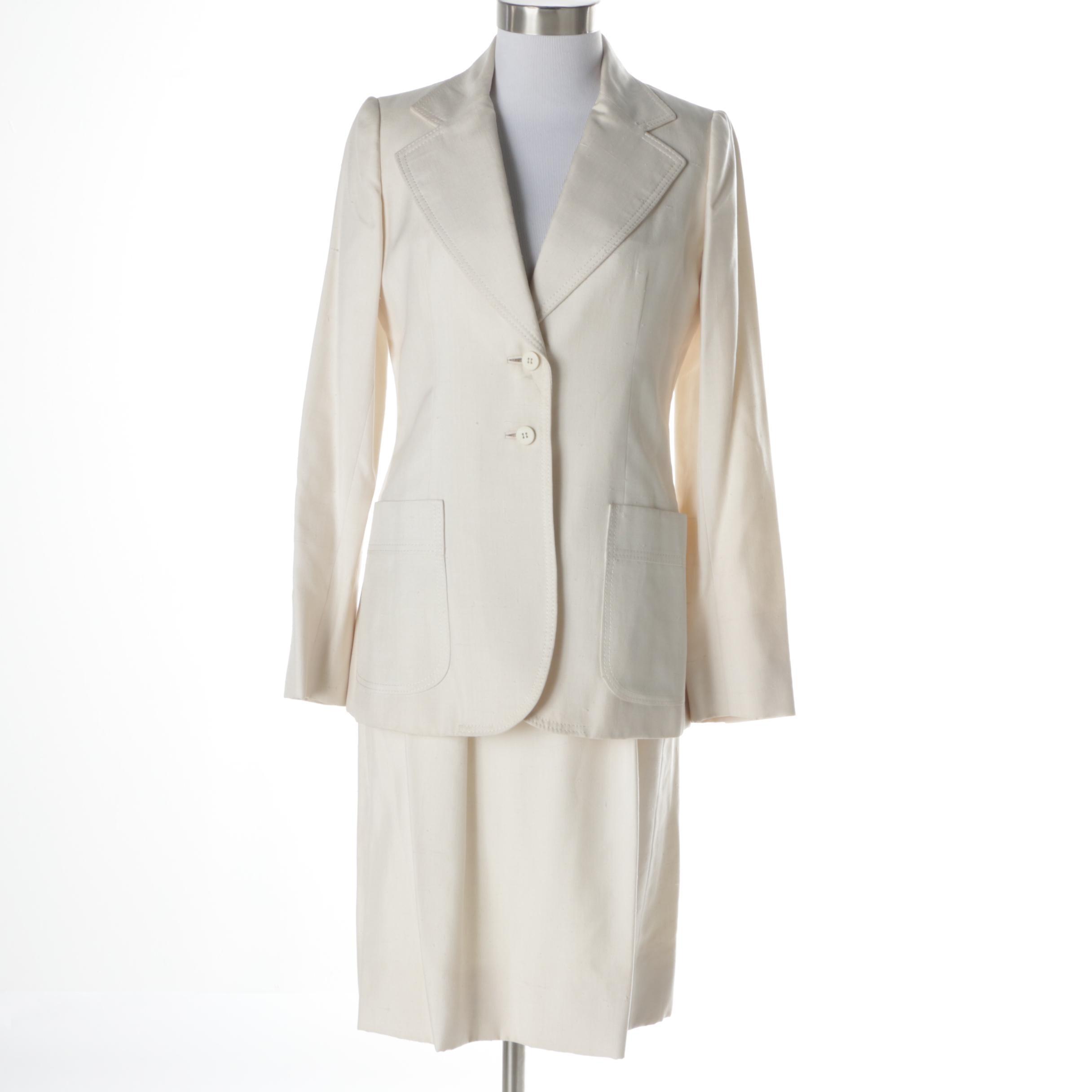 Women's Vintage Cardinali Linen Skirt Suit