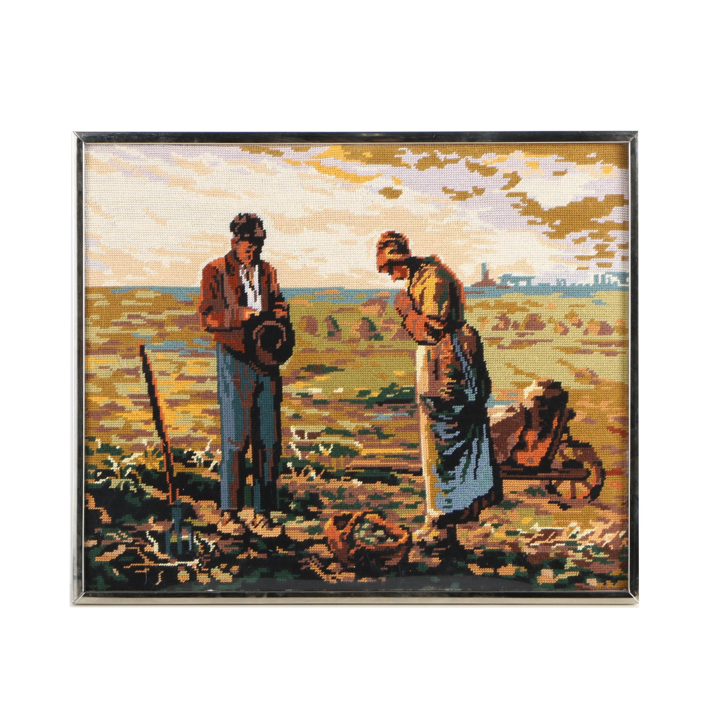 "Needlepoint After Jean-François Millet's ""The Angelus"""
