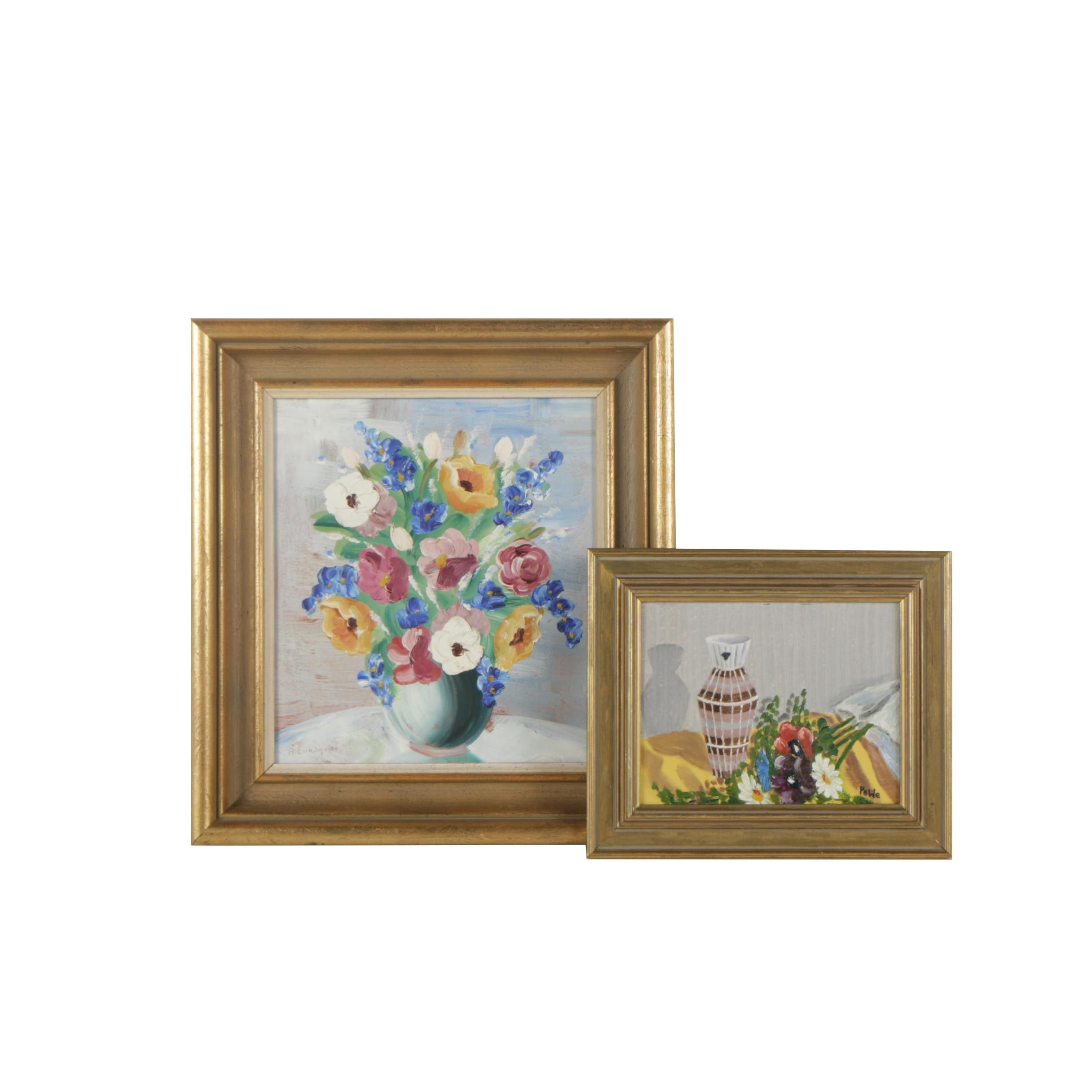 Floral Oil Still Life Paintings on Masonite