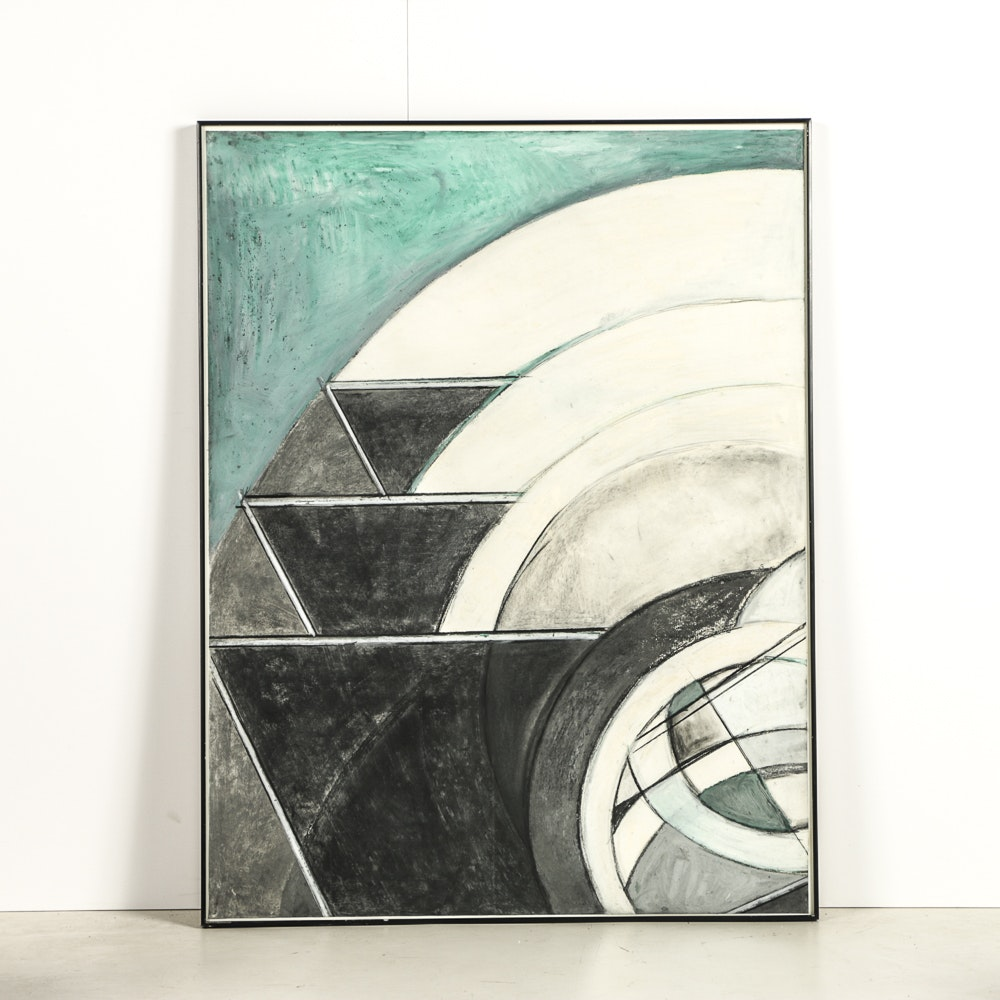 Diptych Pastel Drawing on Paper Geometric Composition