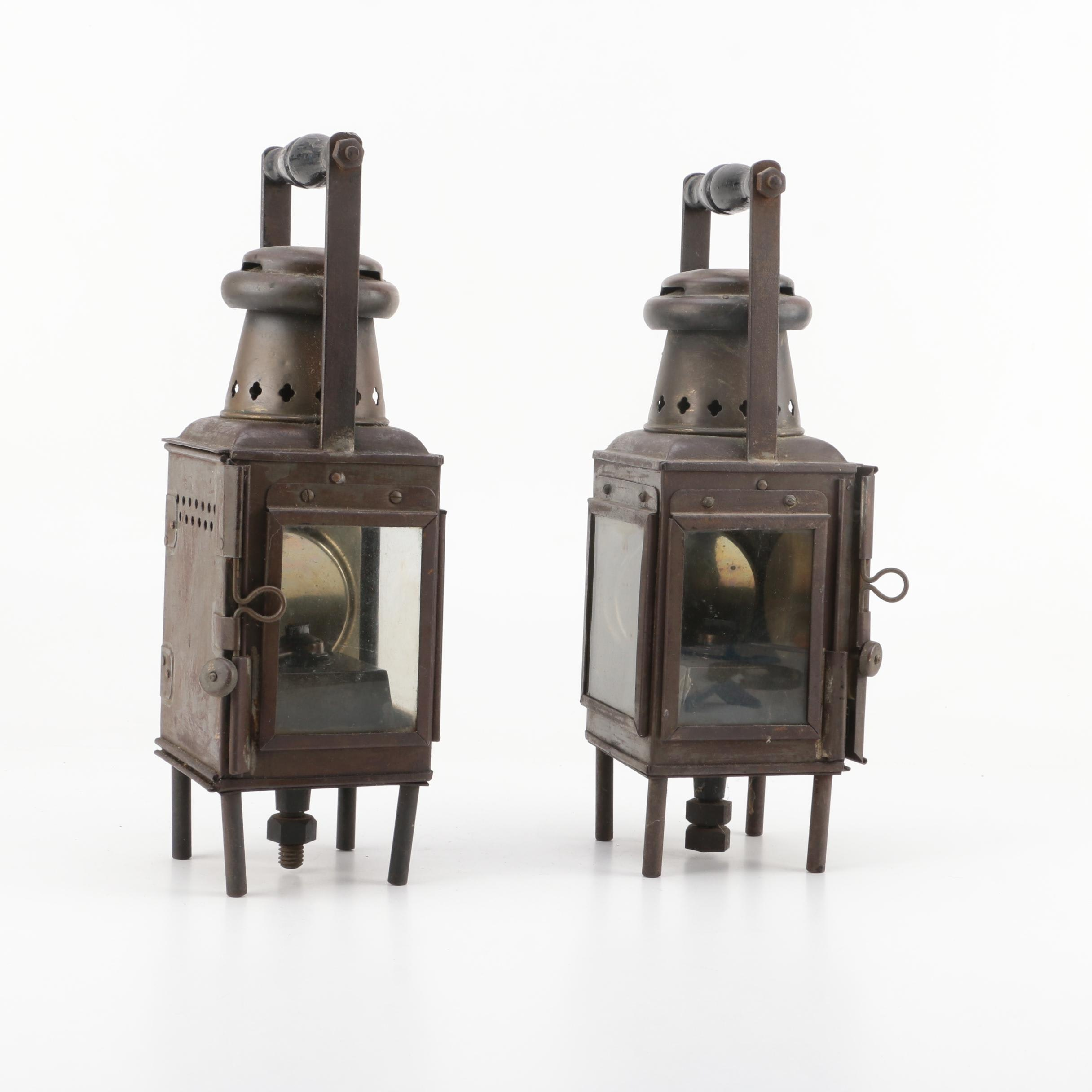 Pair of English Gas and Oil Lanterns