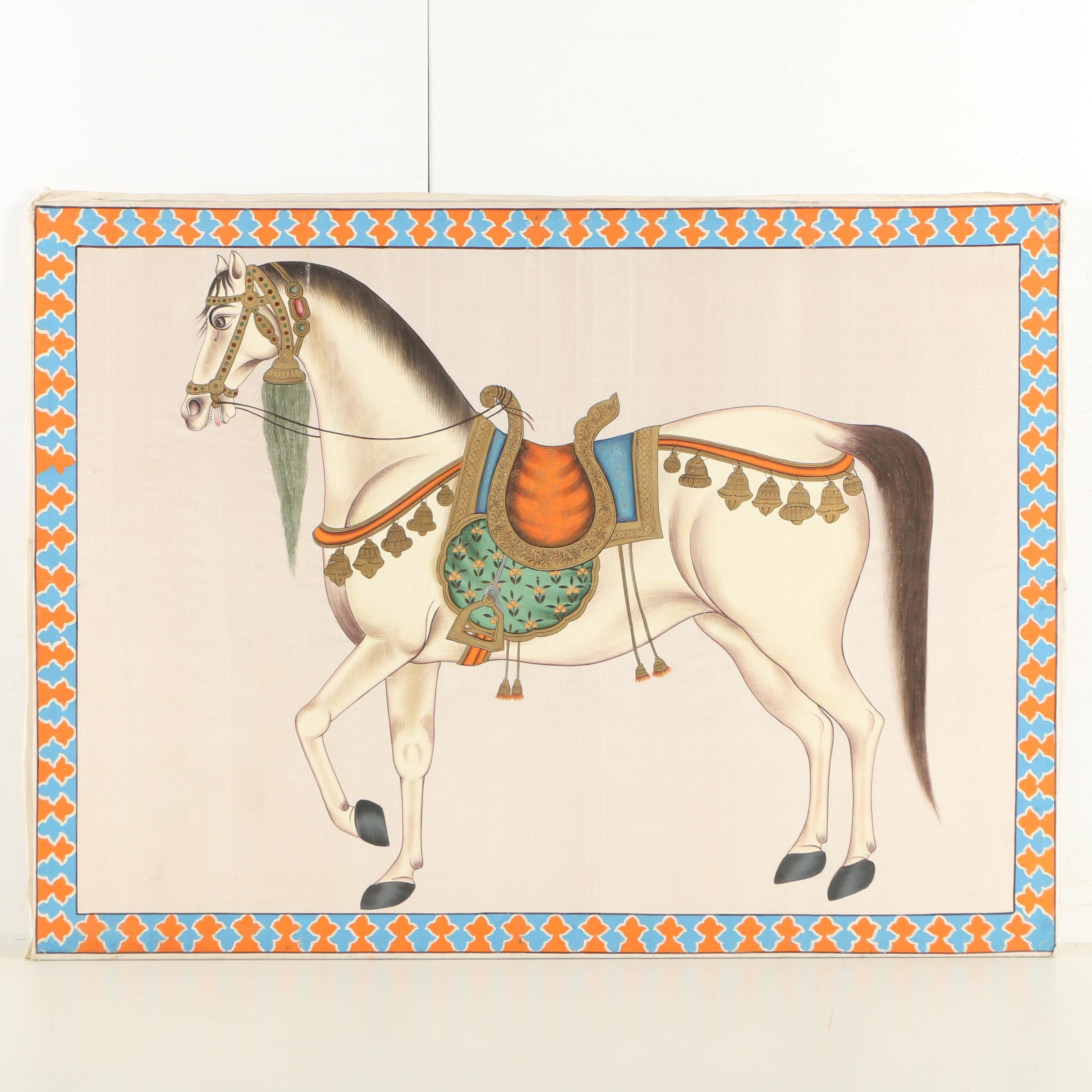 Indo-Persian Gouache Painting of a Horse on Silk