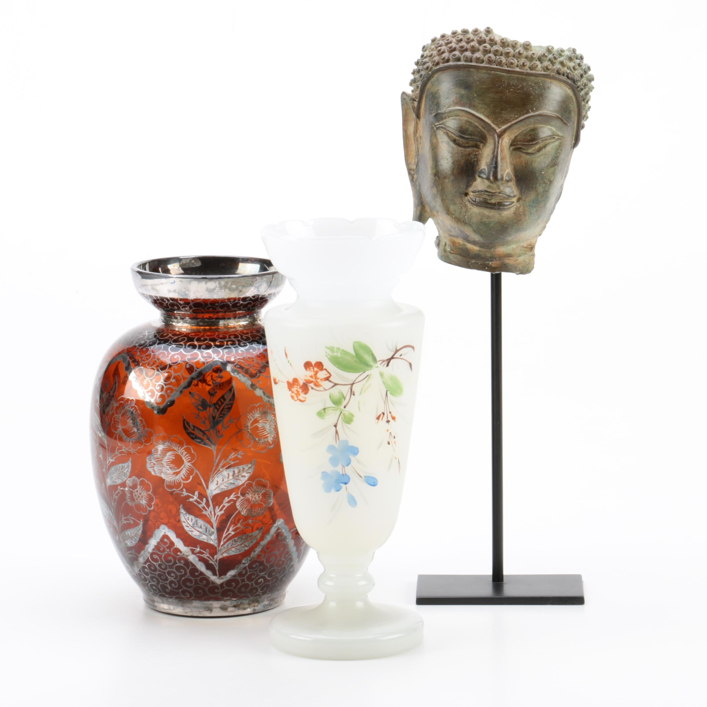 Buddha Mask and Glass Vases