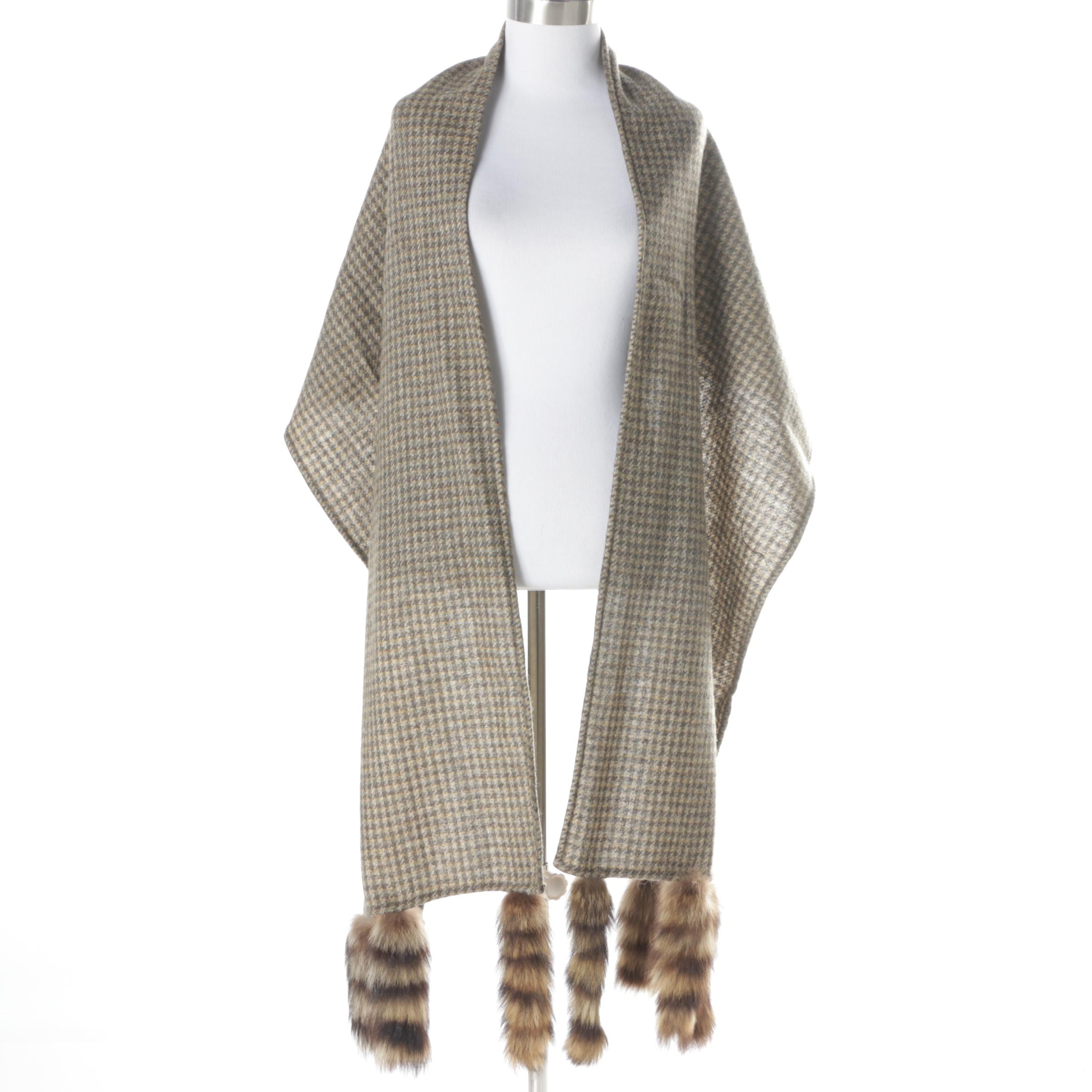 Wool Plaid Wrap with Raccoon Fur Accents