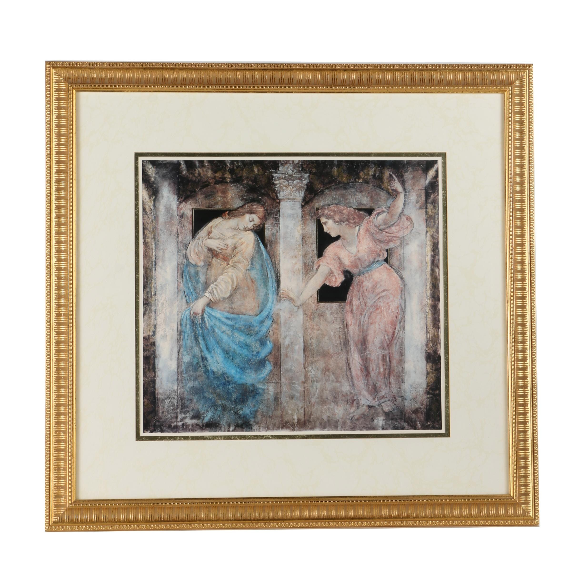 Framed Offset Lithograph After Fresco Style Painting
