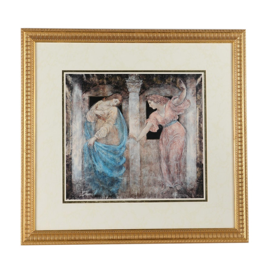 framed offset lithograph after fresco style painting ebth