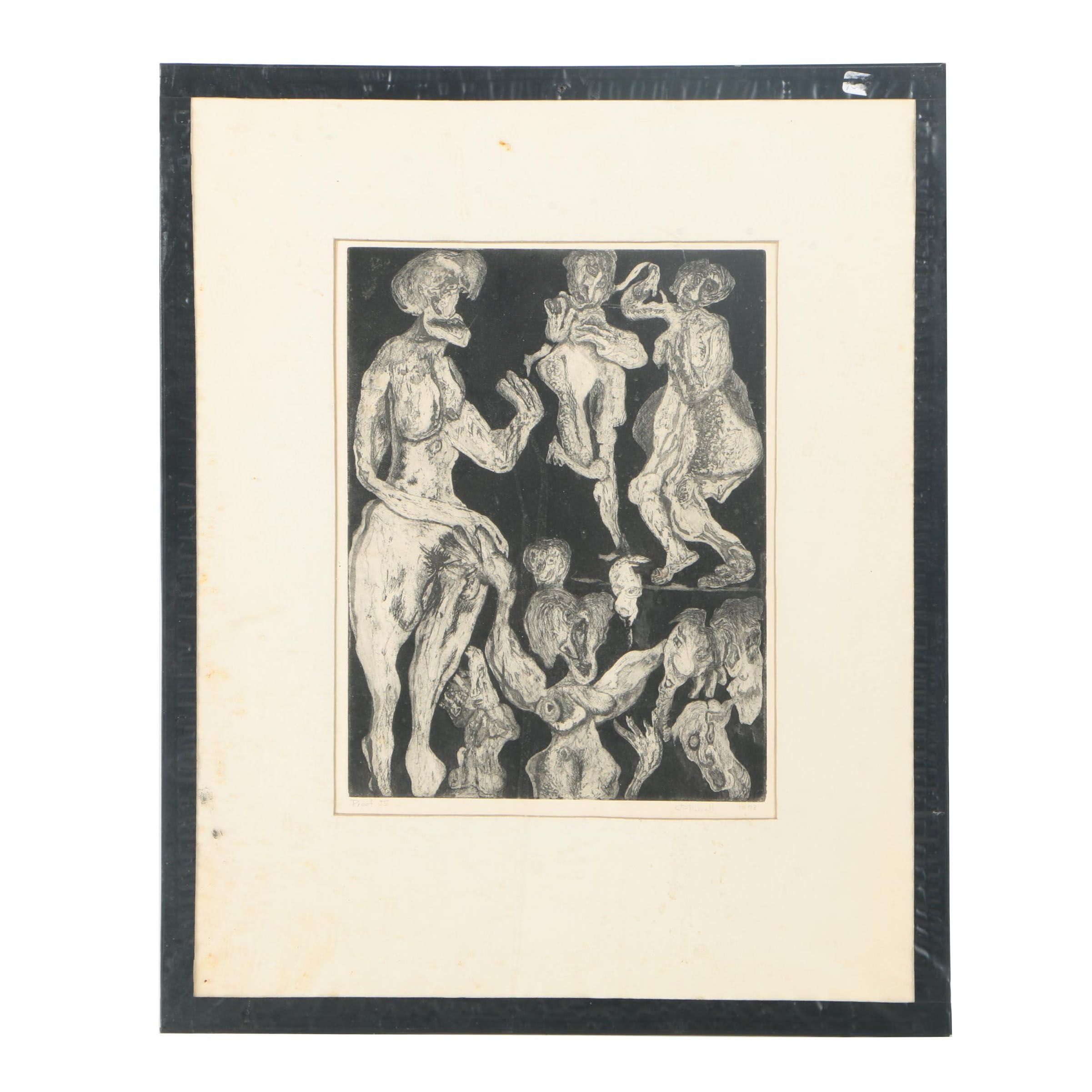 J. P. Purcell Limited Edition Aquatint Etching on Paper of Abstract Figures