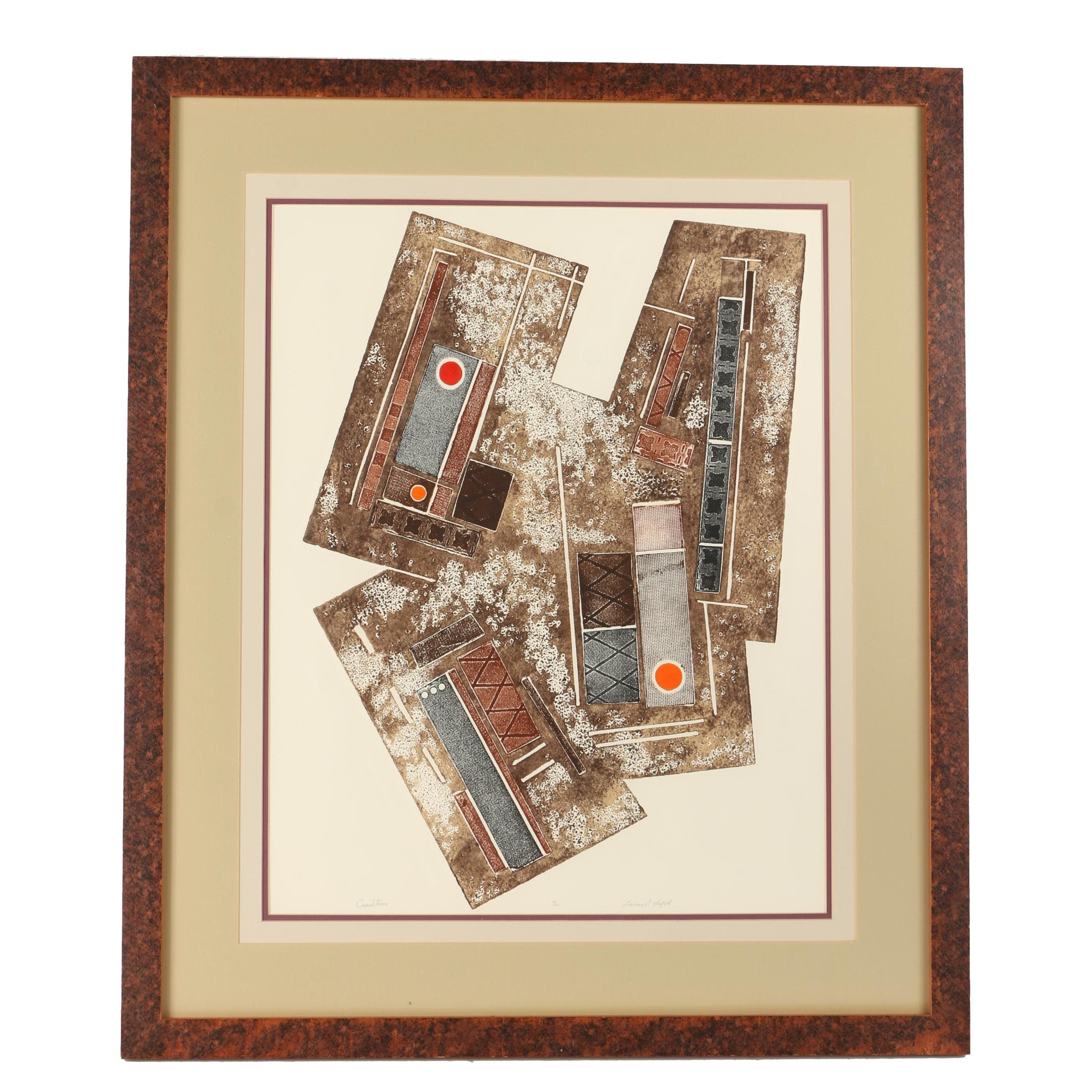 """Lawrence Lerfald Limited Edition Collagraph With Embossing """"Cuauhtemac"""""""