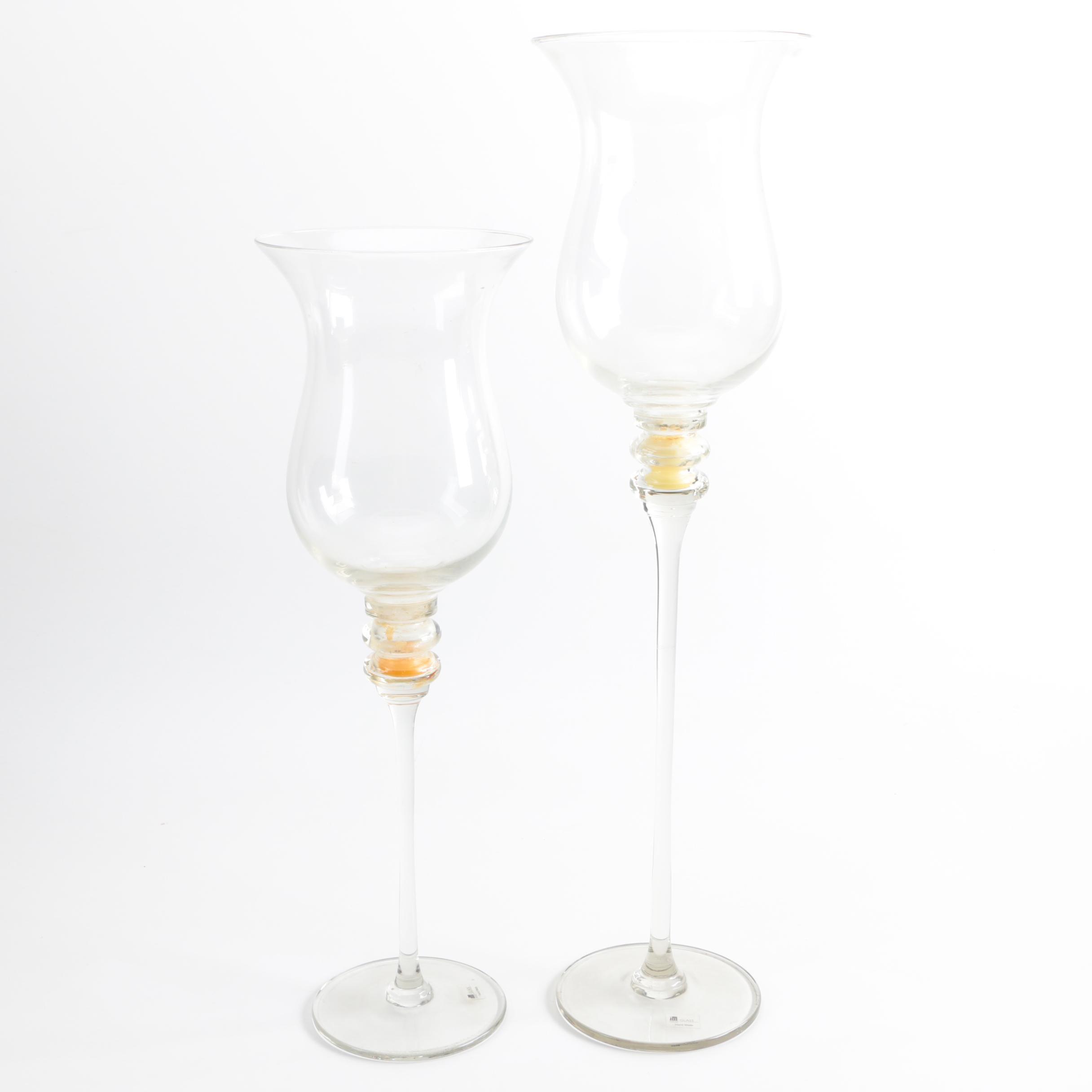 JM Glass Goblet Shaped Candle Holders