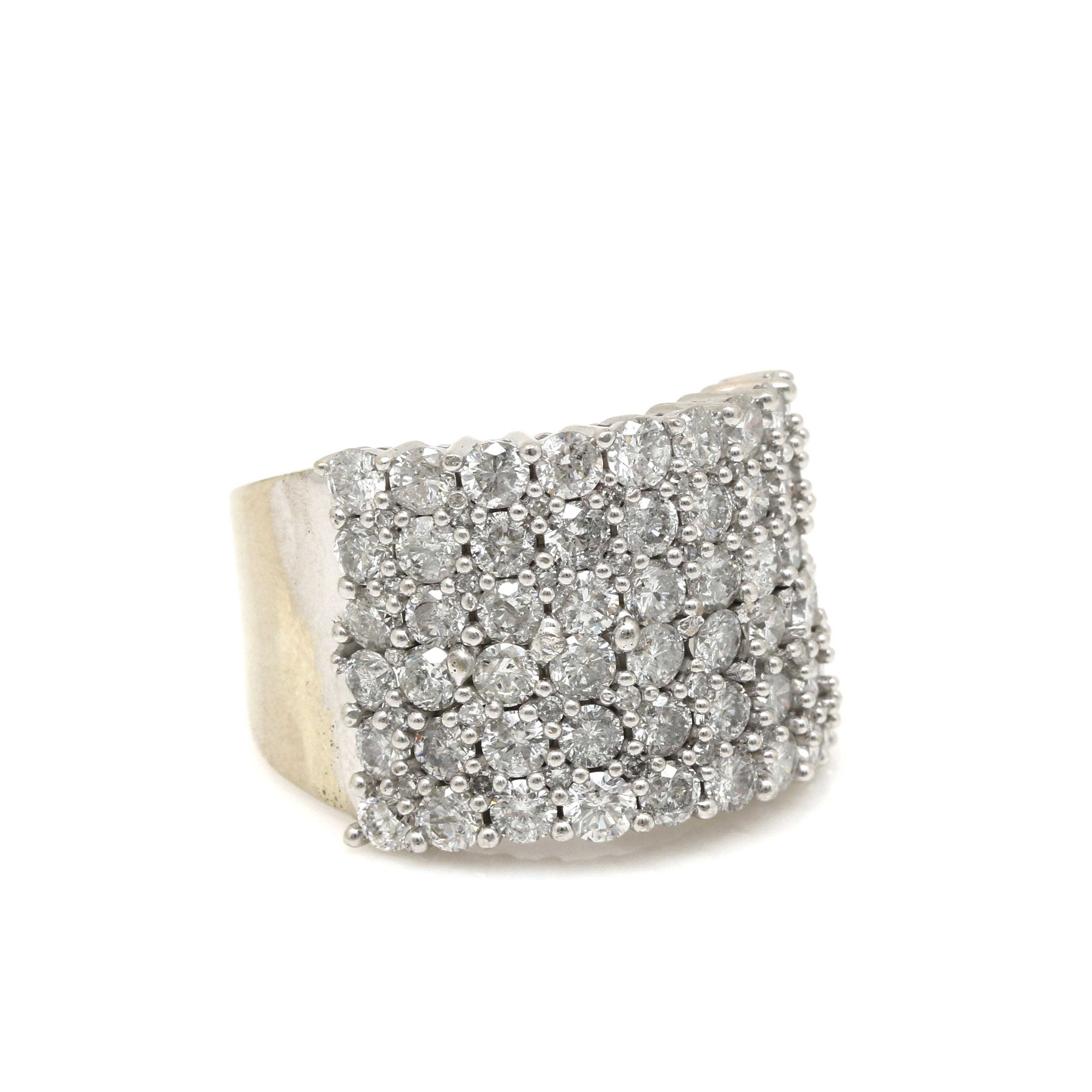14K White Gold 4.75 CTW Diamond Cluster Ring