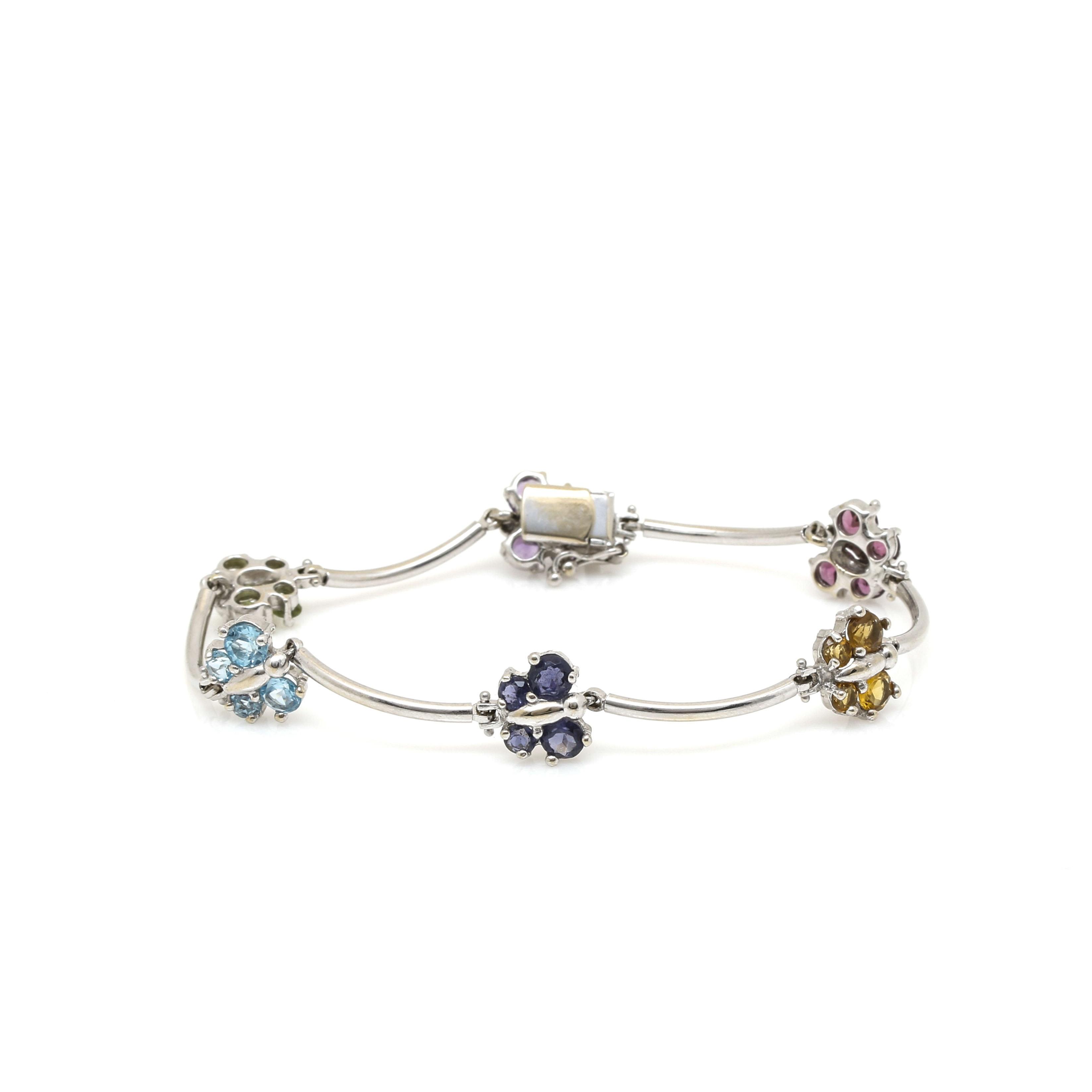 14K White Gold Gemstone Butterfly Bracelet