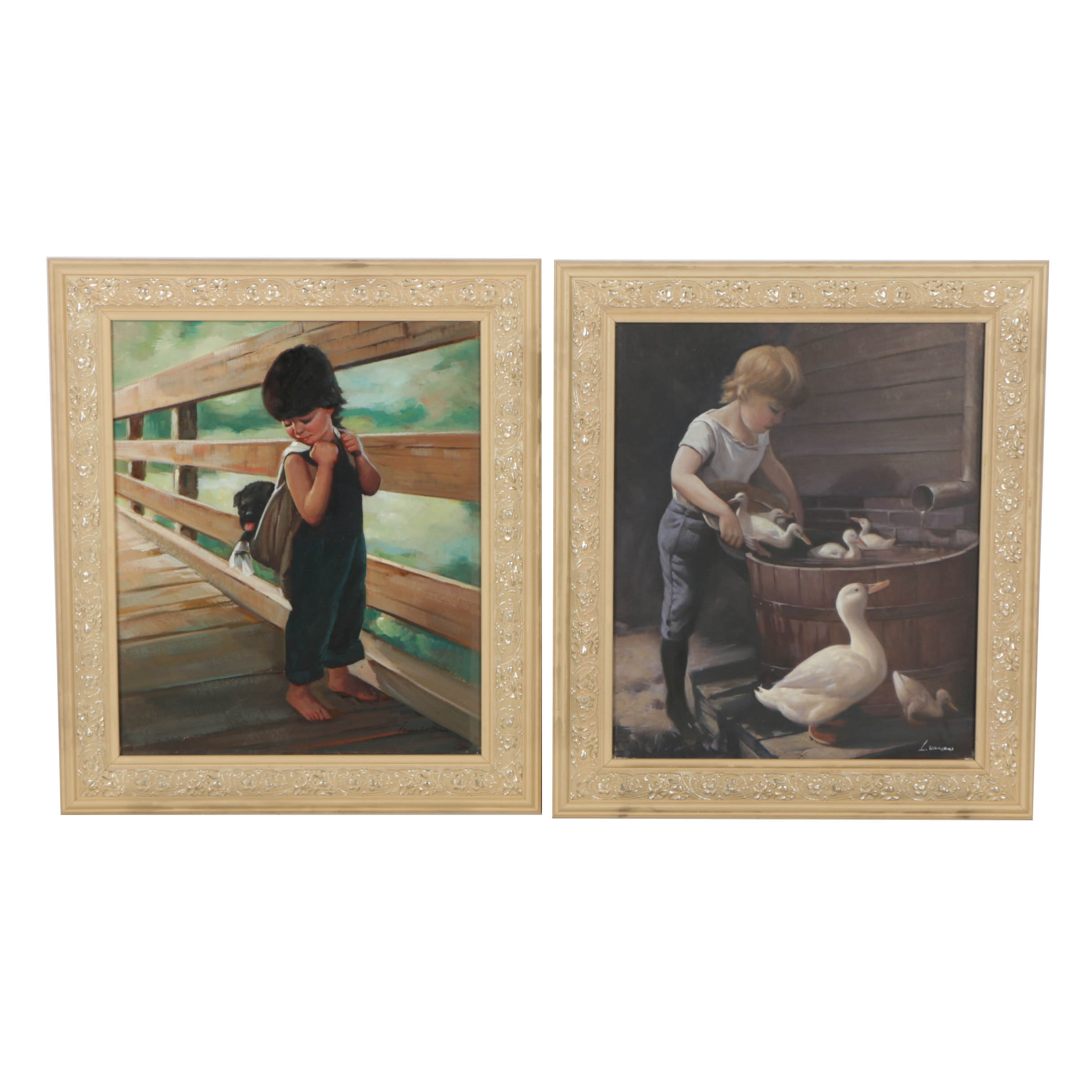 Pair of Lawrence Williams Embellished Giclees of Children