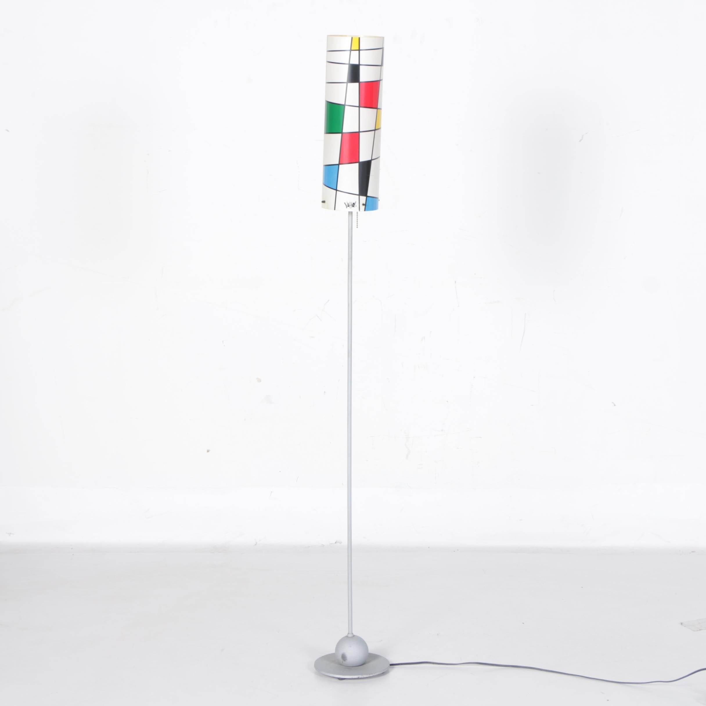 Modernist Floor Lamp with Mondrian-Style Shade by Yayo